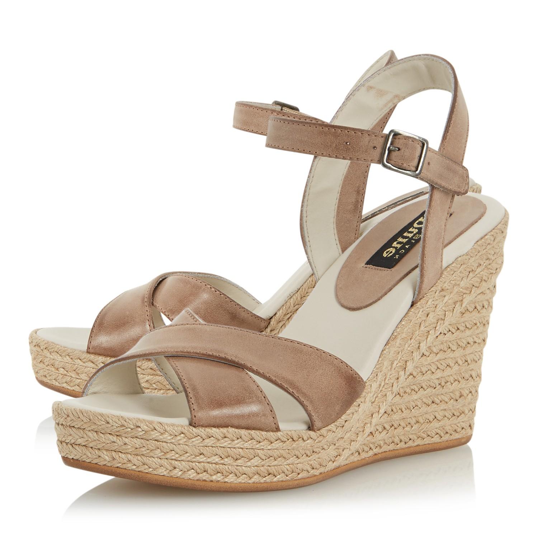 89aadb12d82646 Dune Black Kayden Wedge Leather Sandals in Natural - Lyst