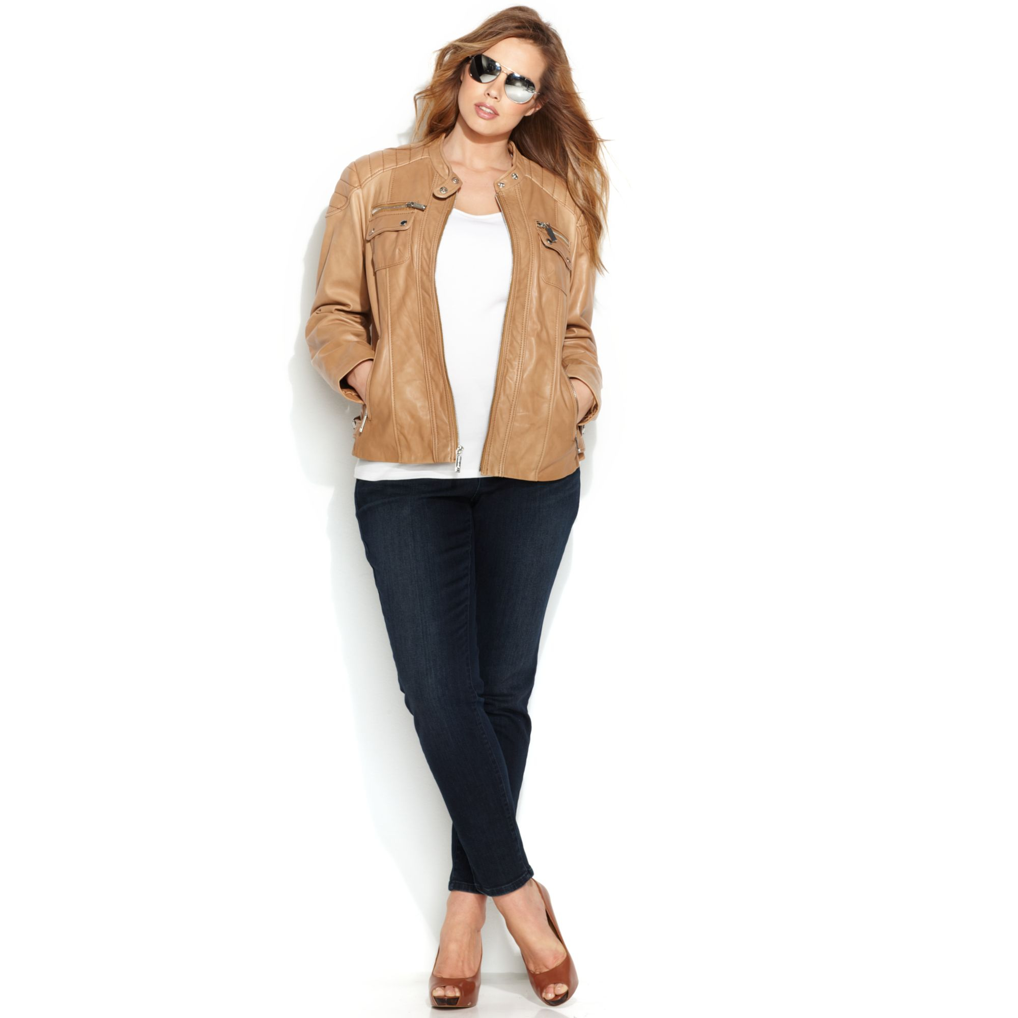 6347152302e8f Lyst - Michael Kors Plus Size Leather Moto Jacket in Brown