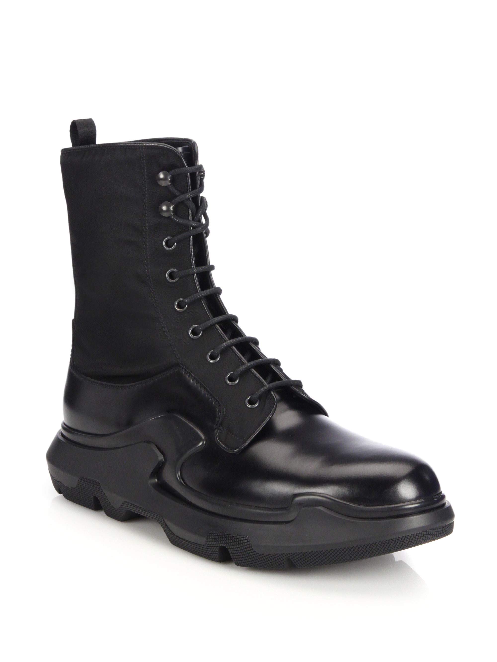 Lyst Prada Runway Lug Sole Leather Amp Nylon Lace Up Boots
