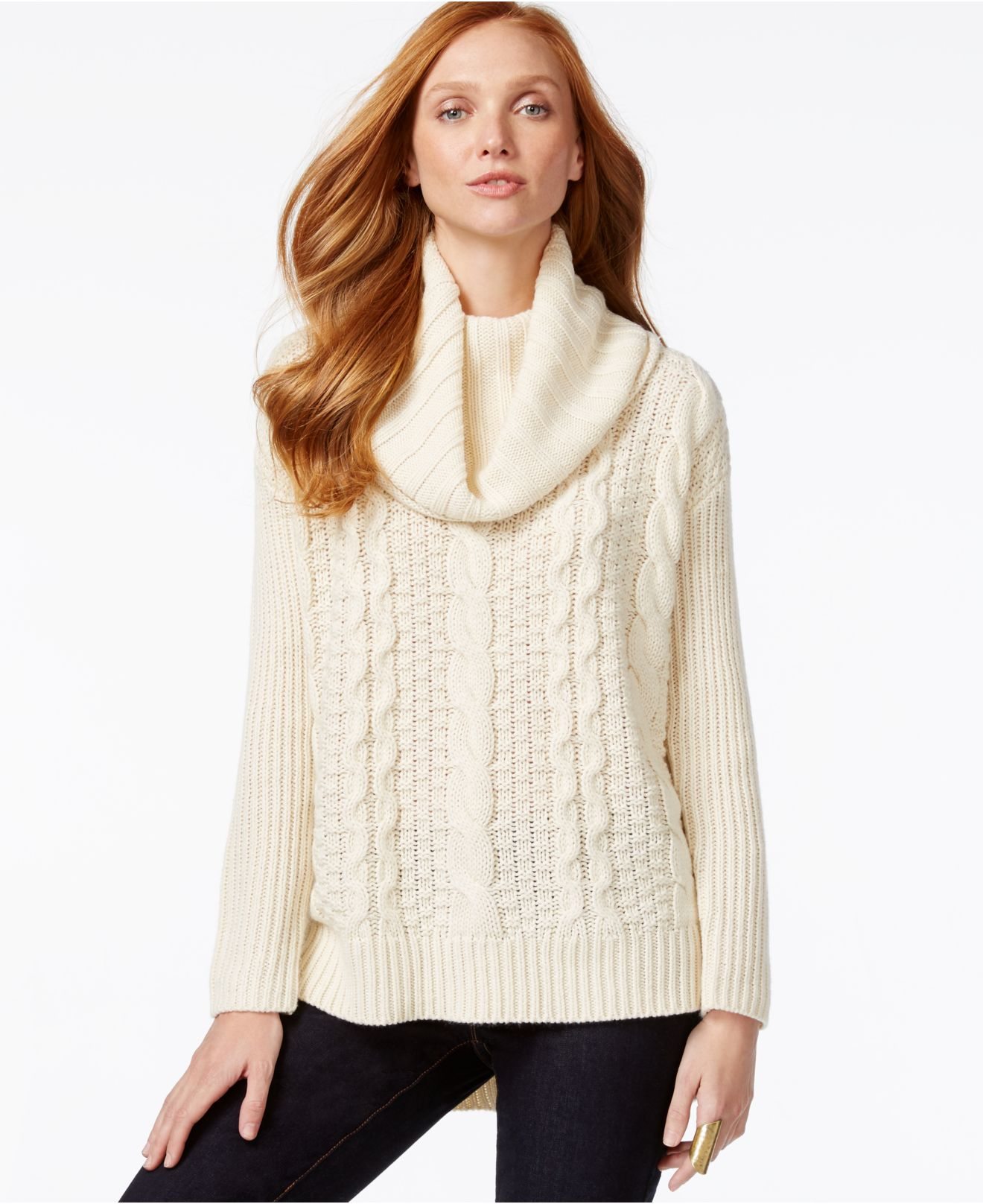 G.h. bass & co. Cowl-neck Cable-knit Sweater in White | Lyst