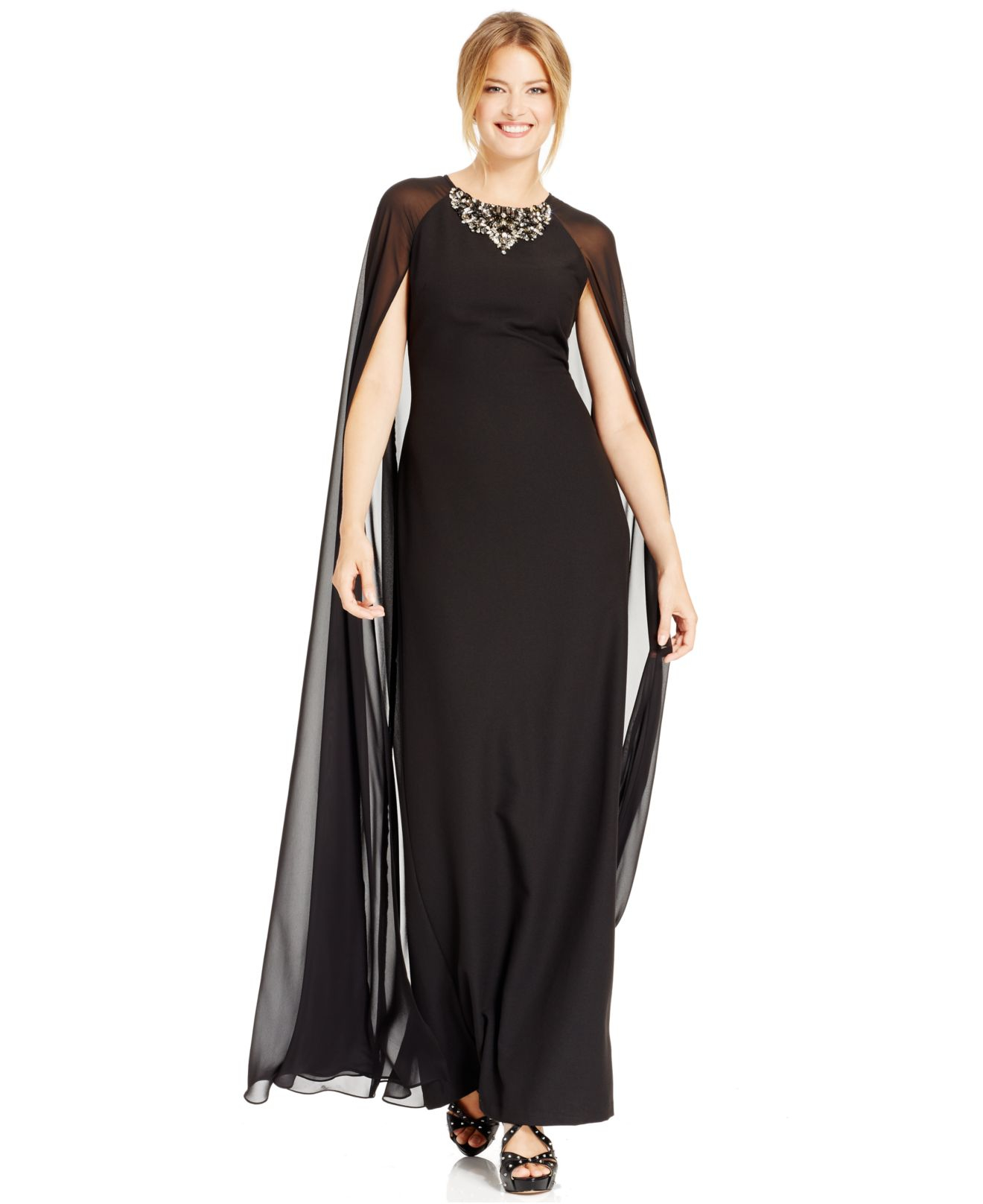 Lyst Vince Camuto Jeweled Chiffon Caplet Gown In Black