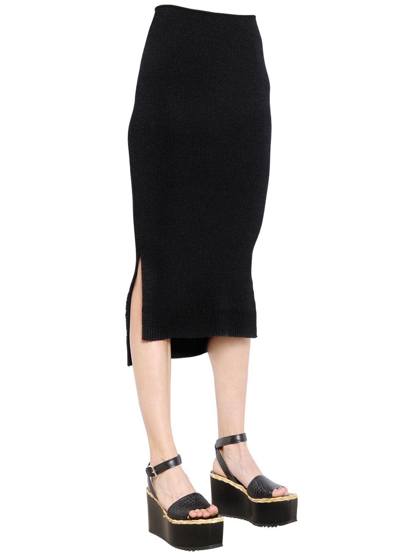 sportmax cotton rib knit pencil skirt in black lyst