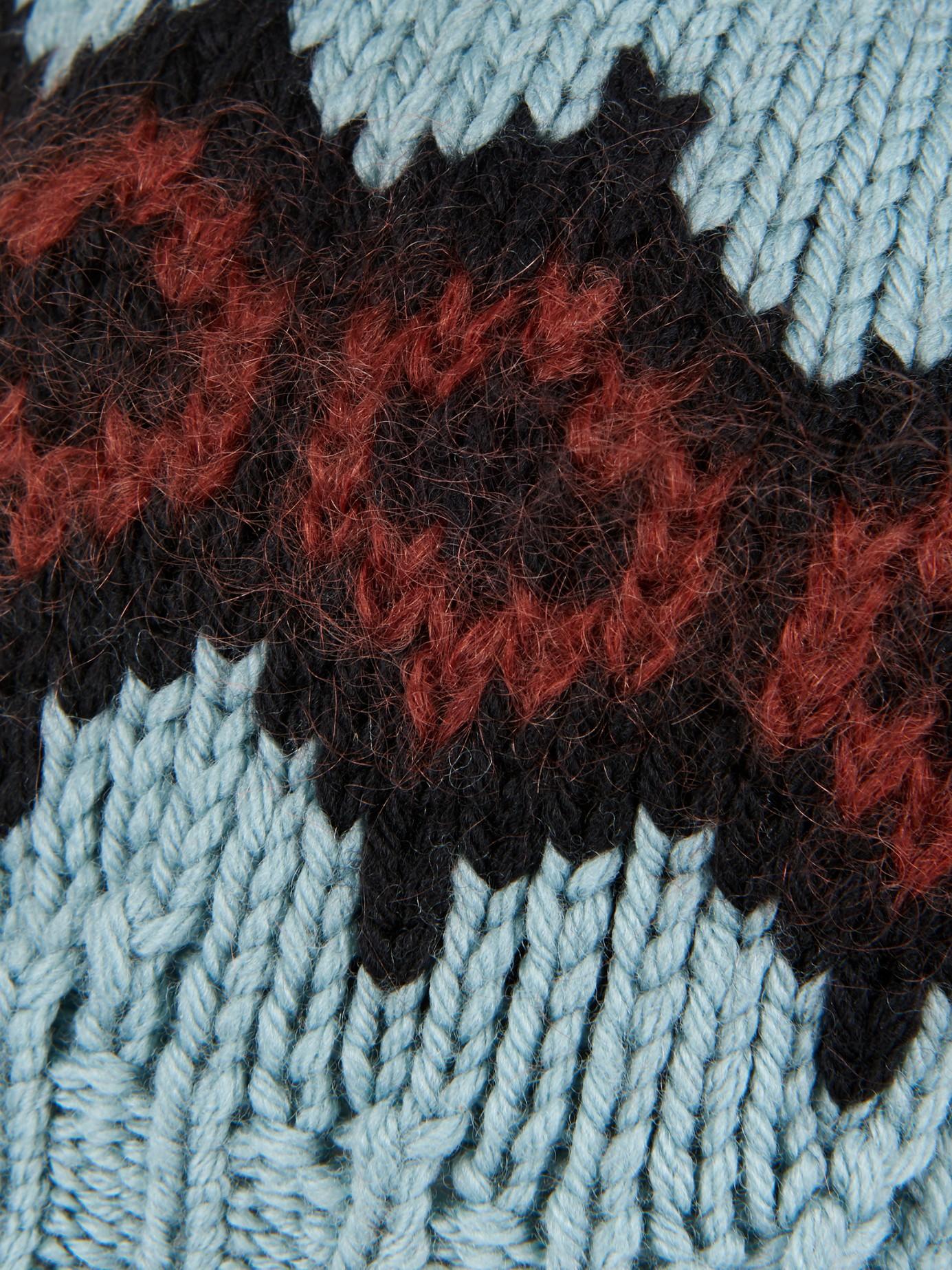 9d89b68b032 Gucci Intarsia-Knit Wool Beret Hat in Blue - Lyst