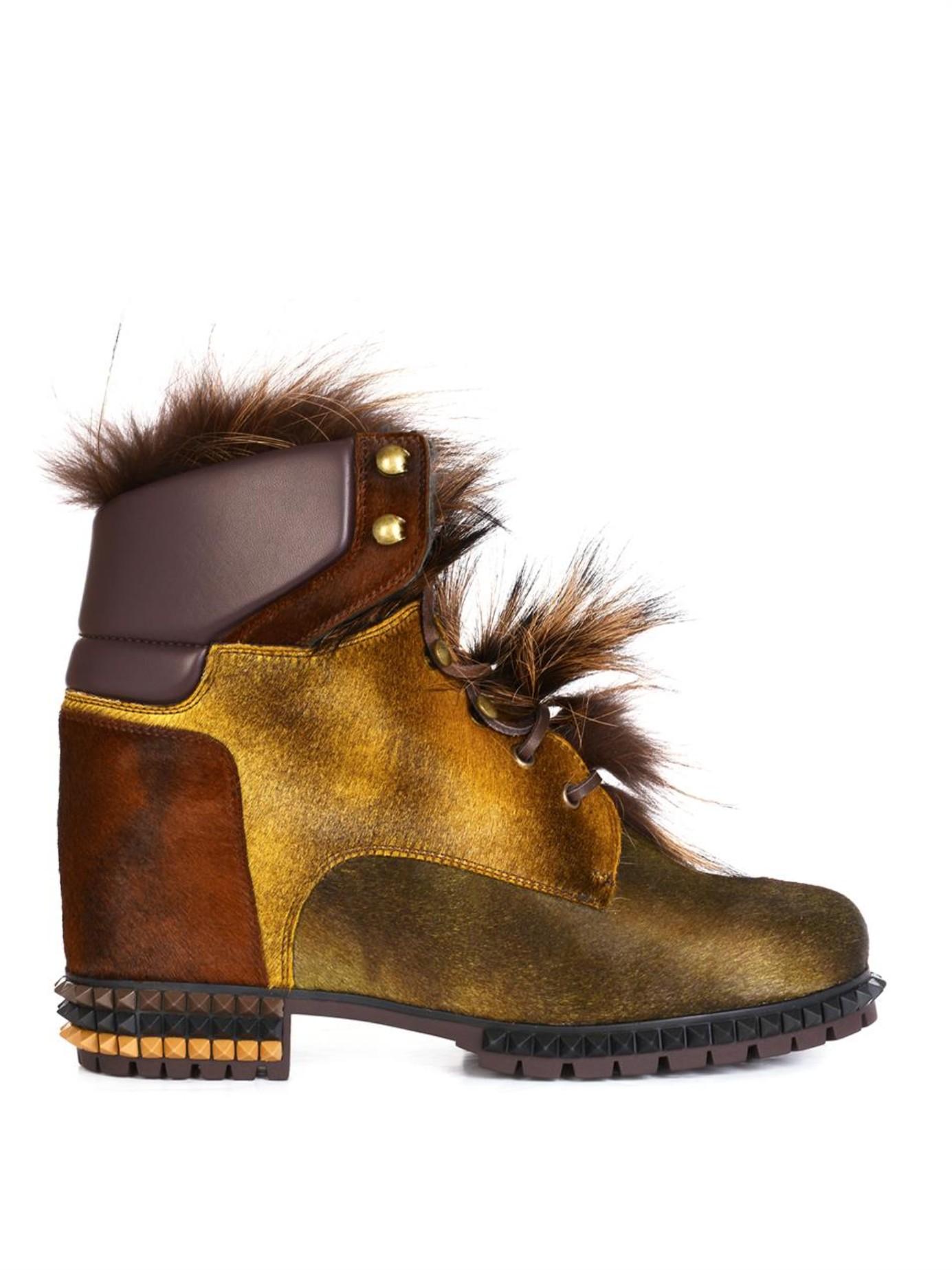fendi joan fox fur ankle boots in lyst