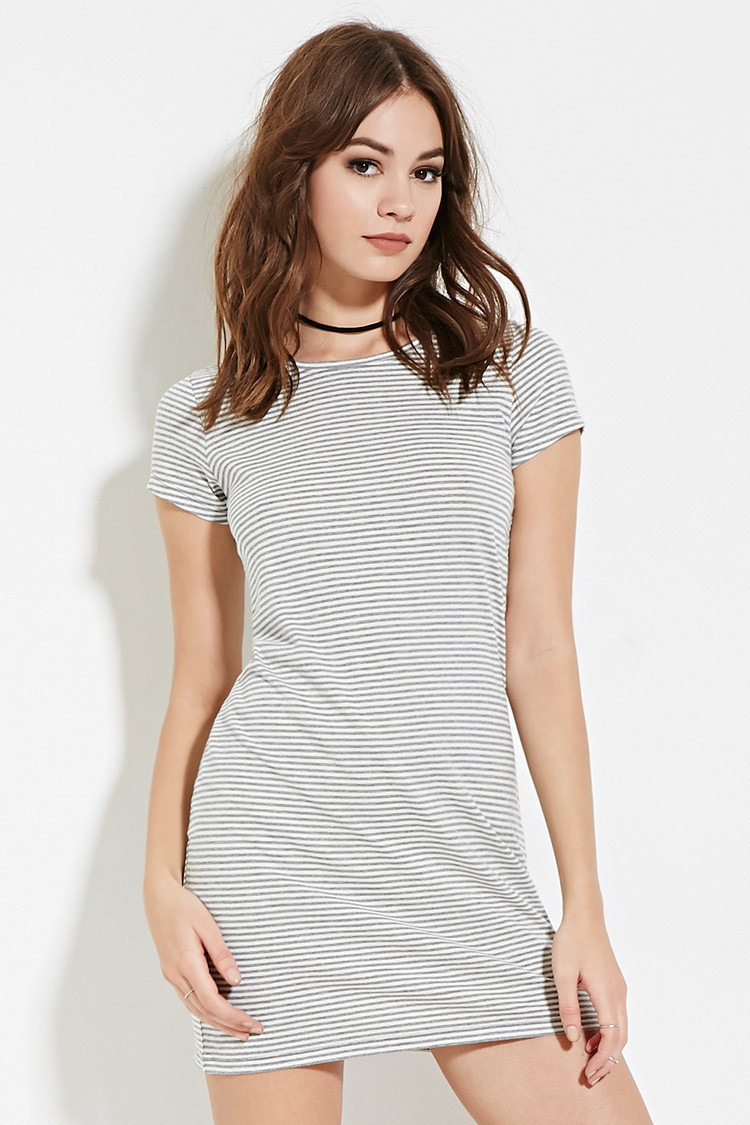 30af9e44d89 Lyst - Forever 21 Striped T-shirt Dress in Gray