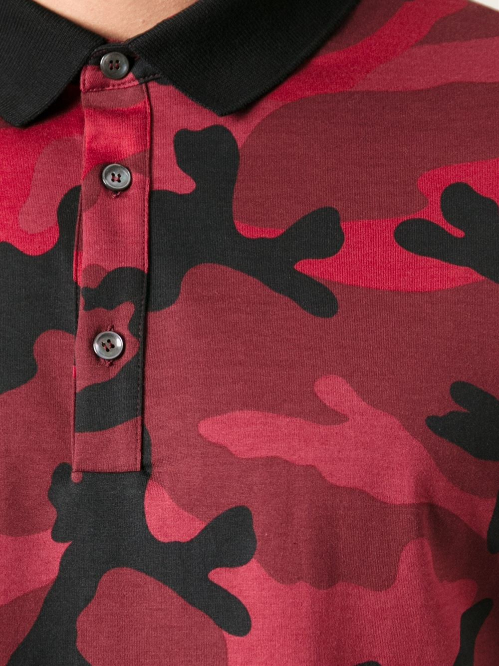 e6ada752 Valentino Camouflage Polo Shirt in Red for Men - Lyst