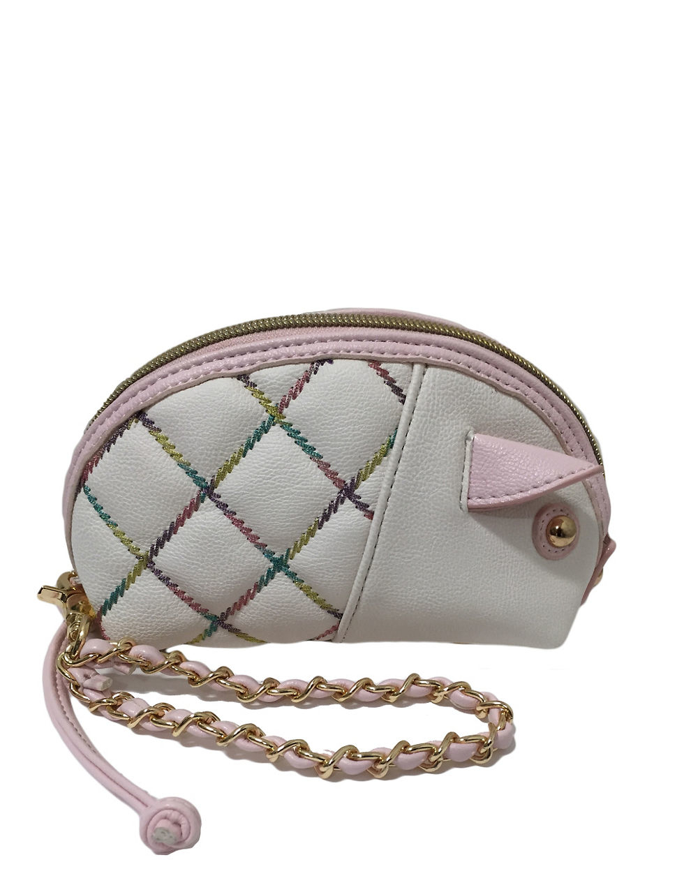 Betsey Johnson Cotton Candy Pig Wristlet In Cream Natural