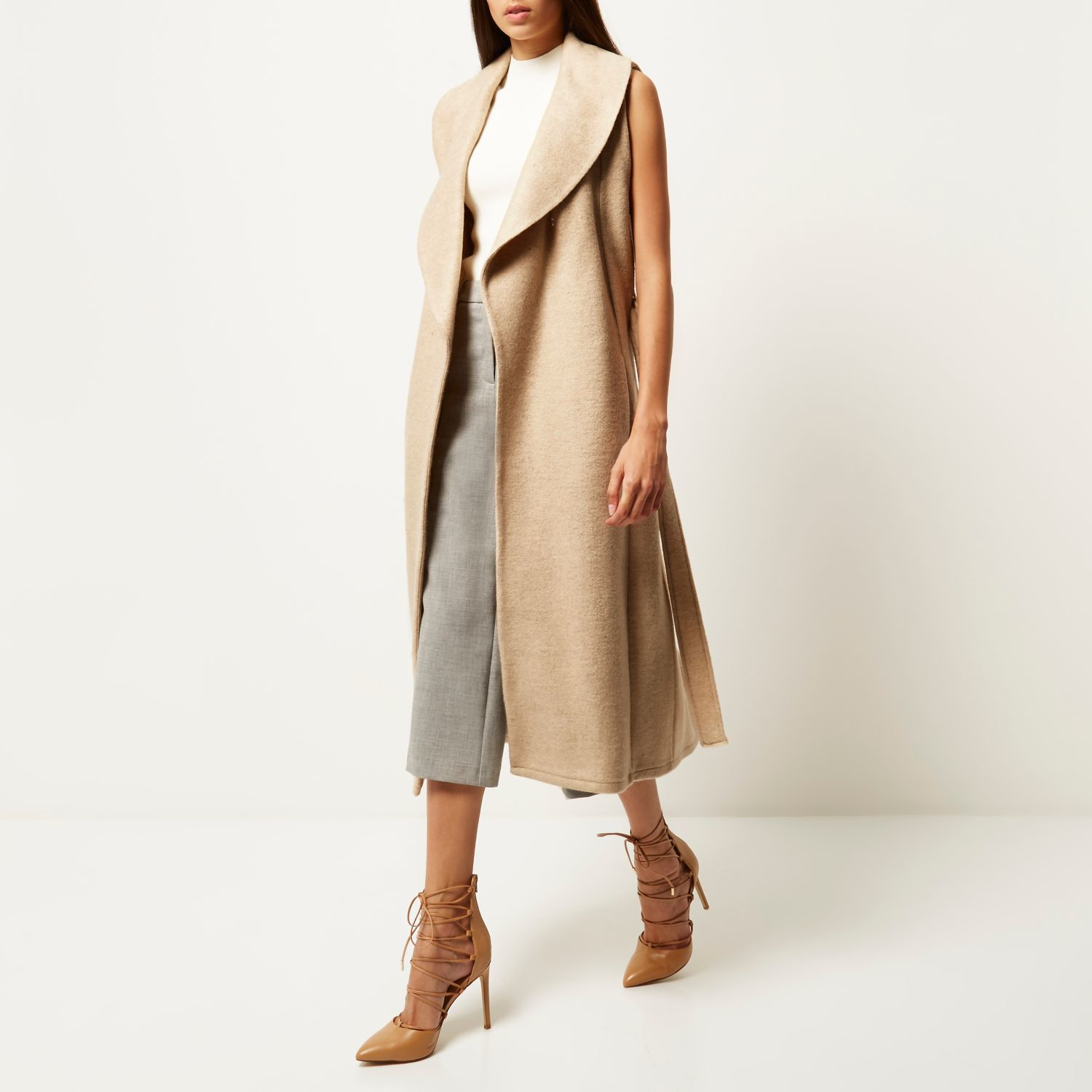 c525933fd9eea River Island Cream Jersey Belted Sleeveless Coat in Natural - Lyst