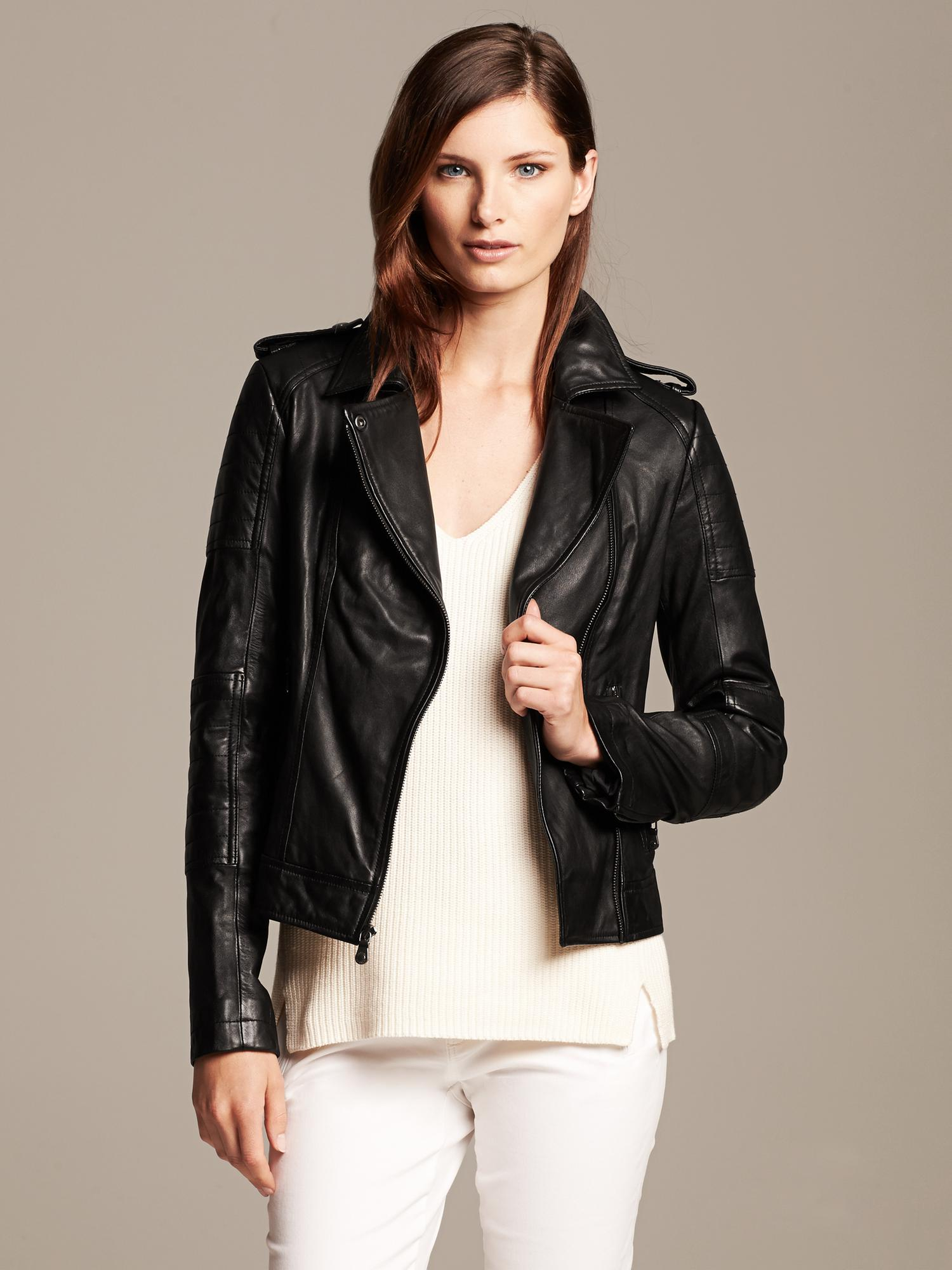 Banana republic womens leather biker jacket – Modern fashion ...