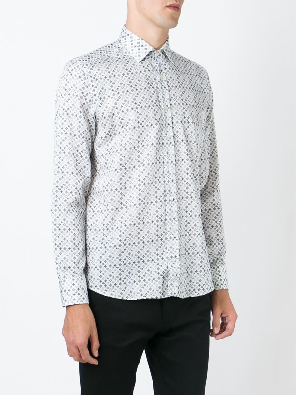 Etro micro paisley print shirt in white for men lyst for Etro men s shirts