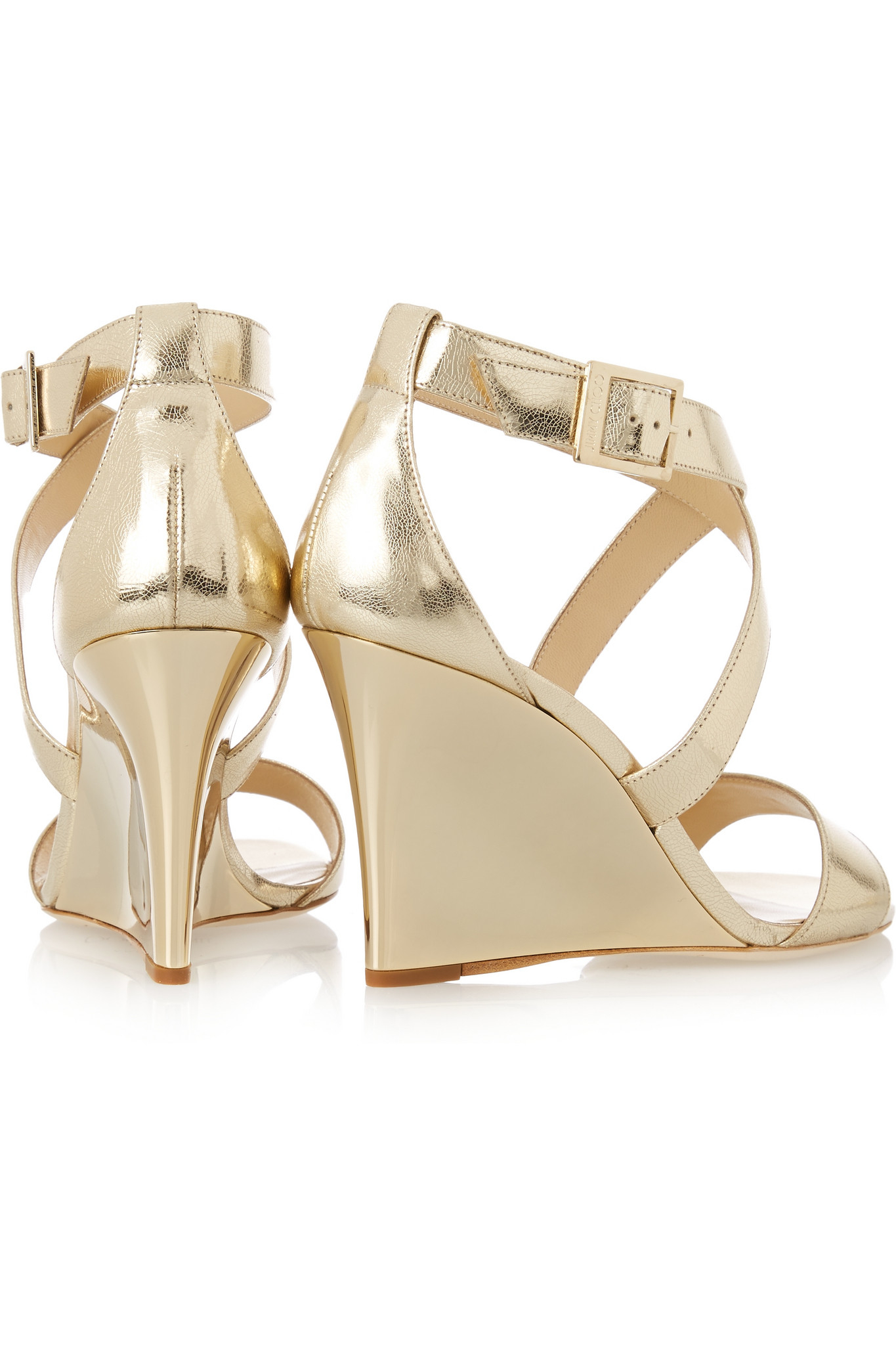 4b782d9f1041 ... czech jimmy choo fearne metallic textured leather wedge sandals in  56eeb 72dcb