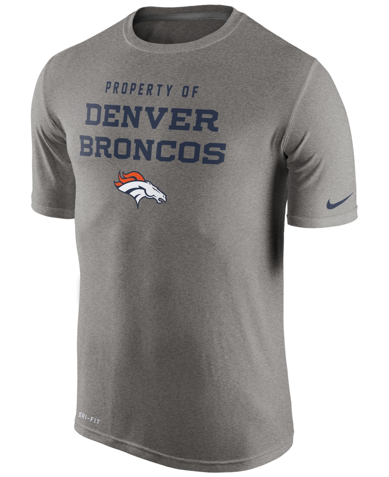 73e676f2d29 ... Nike Mens Denver Broncos Legend Property Of T-shirt in Gray ...