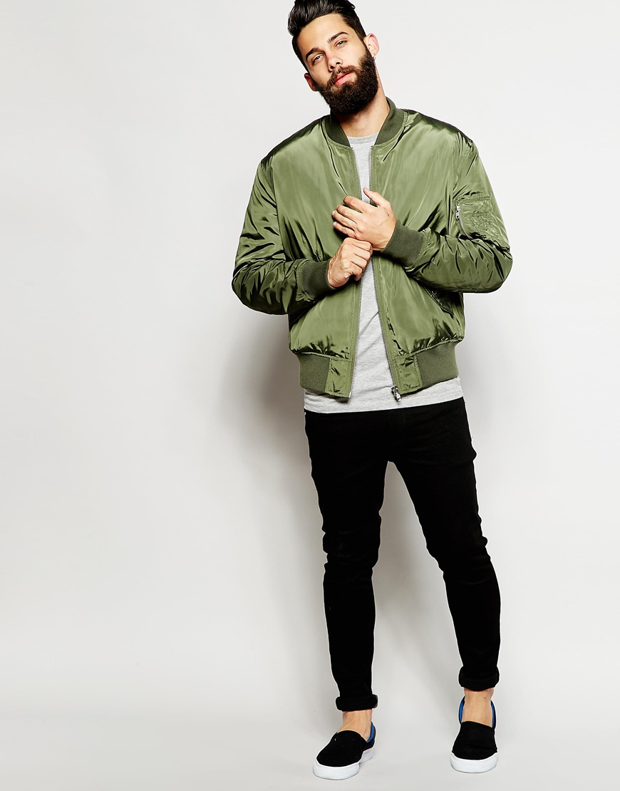 Asos Bomber Jacket With Ma1 Pocket In Green in Green for ...