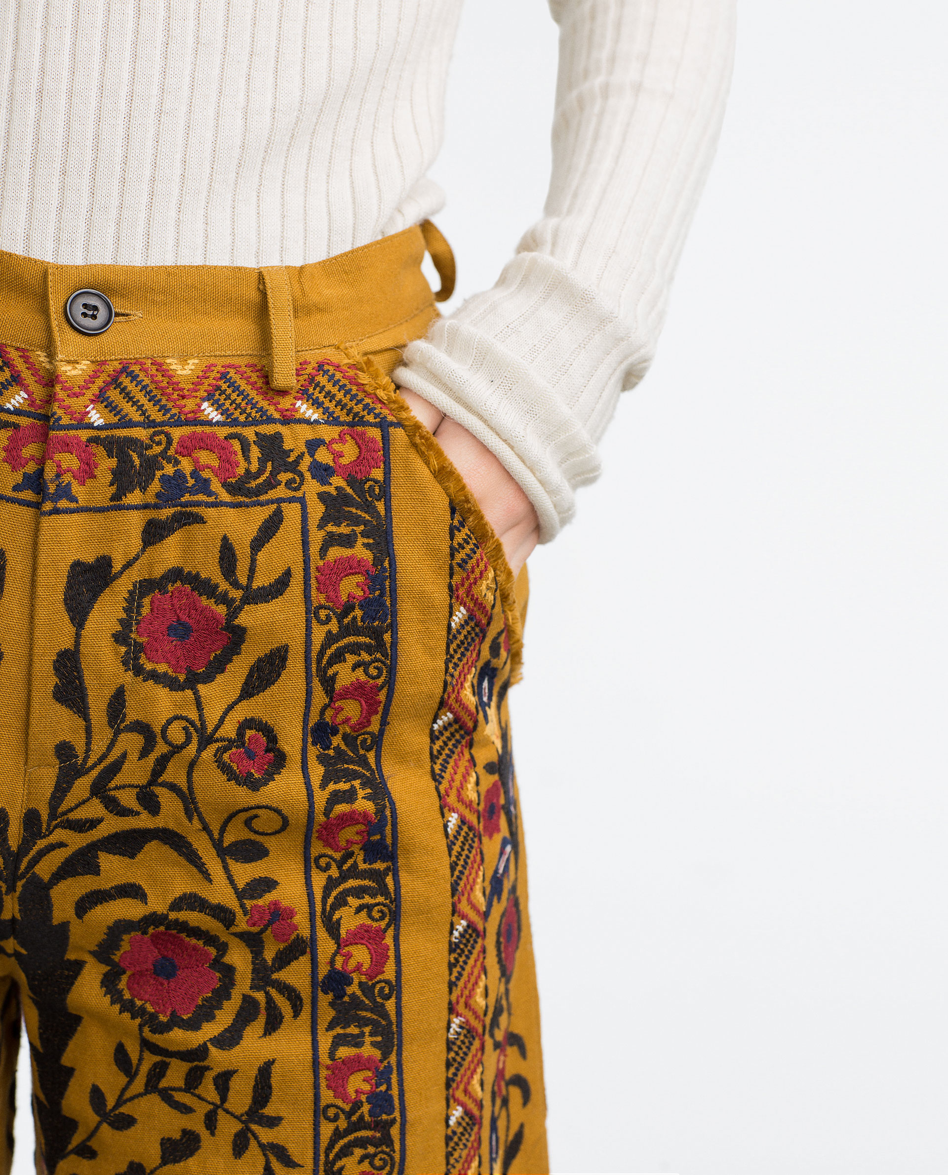 Zara Embroidered Trousers In Yellow | Lyst
