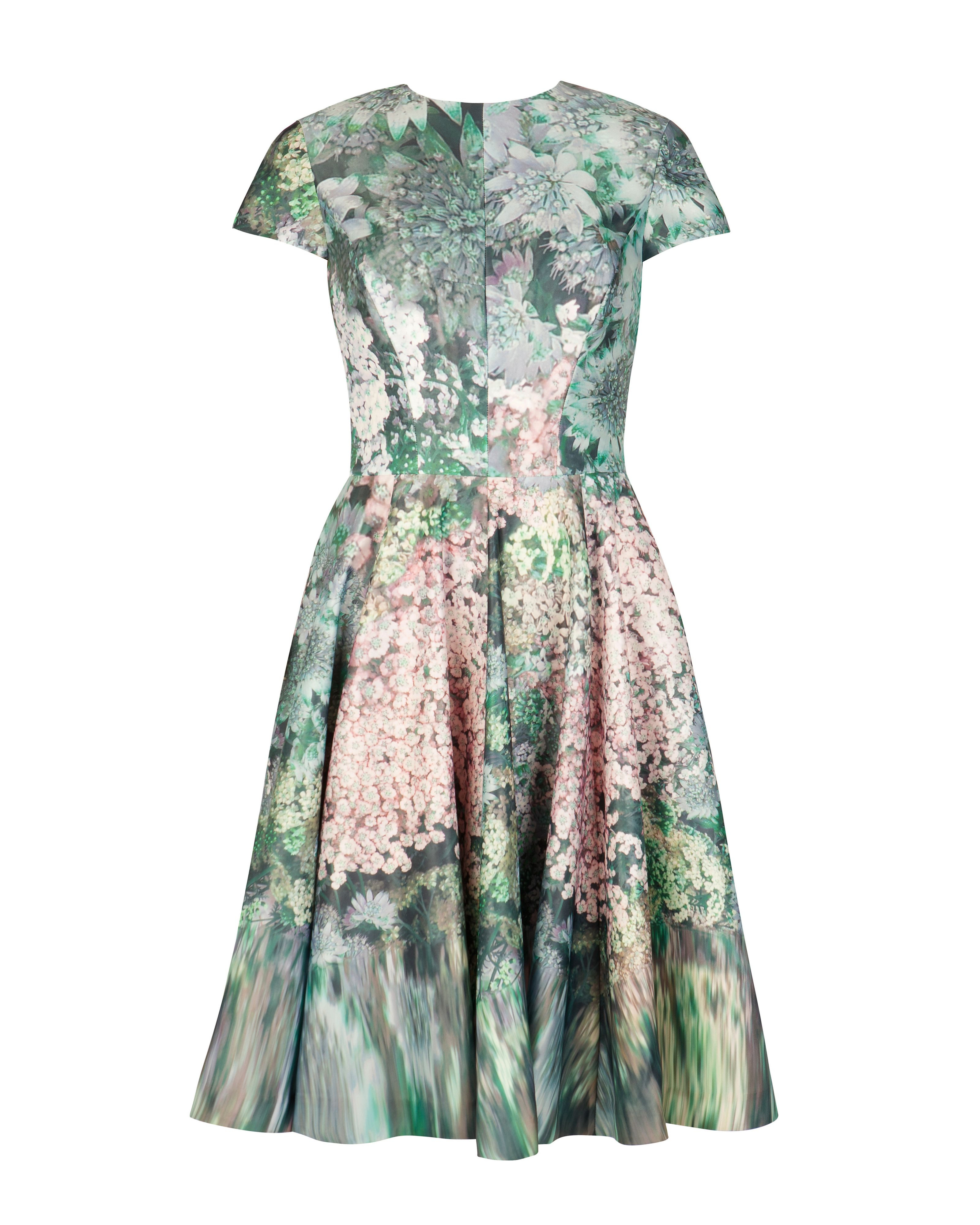 Ted Baker Dixee Glitch Floral Print Dress In Green Lyst