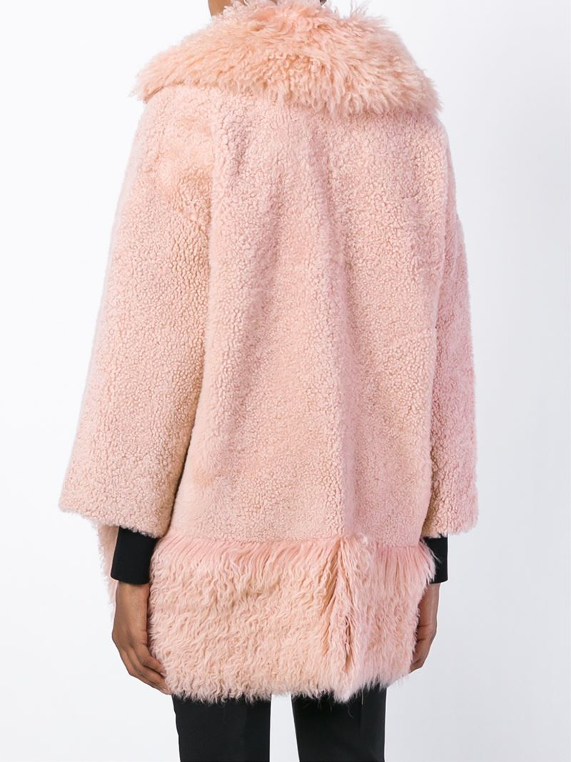 Blancha Shearling Coat in Pink | Lyst