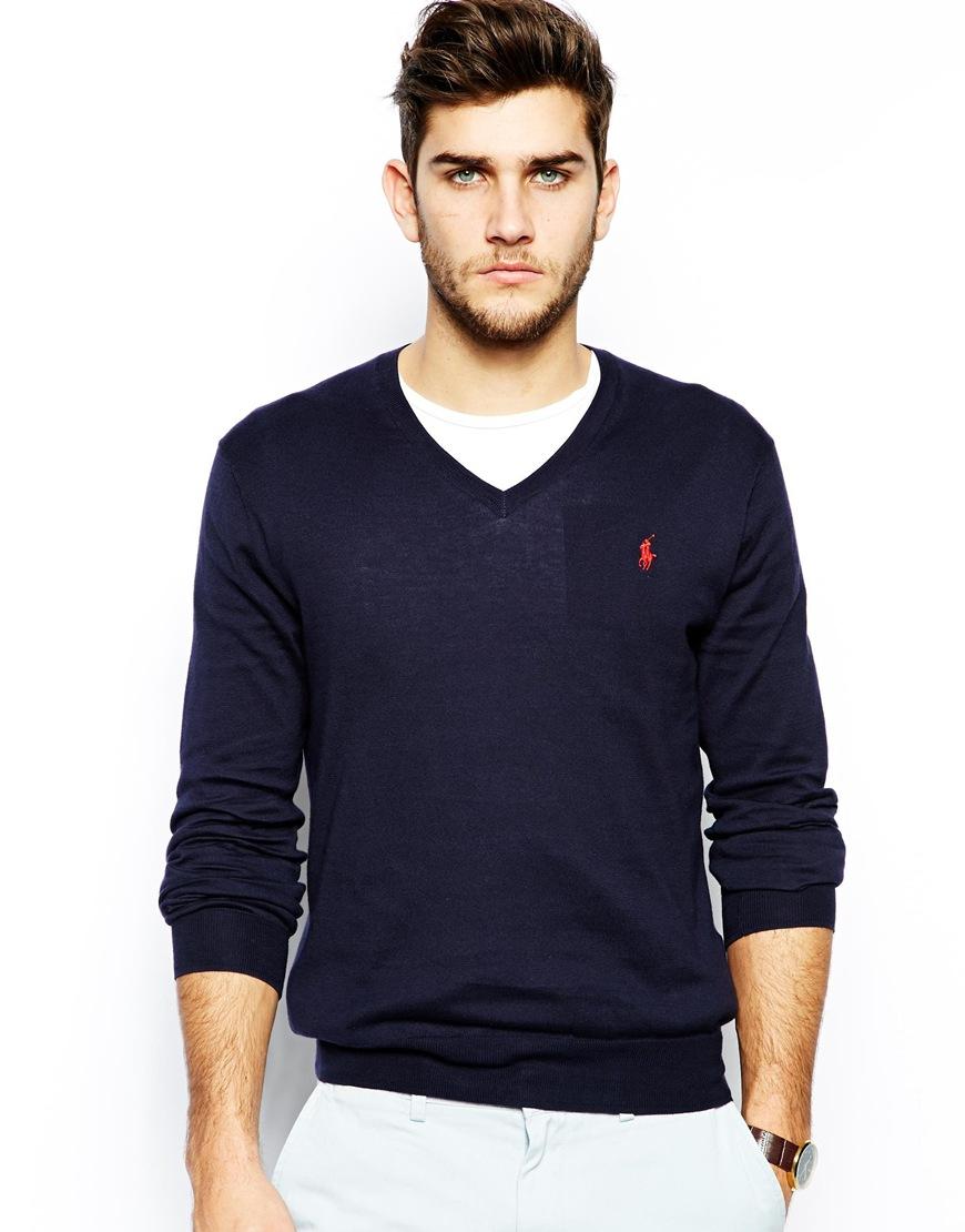 polo ralph lauren jumper with v neck in slim fit in blue for men lyst. Black Bedroom Furniture Sets. Home Design Ideas