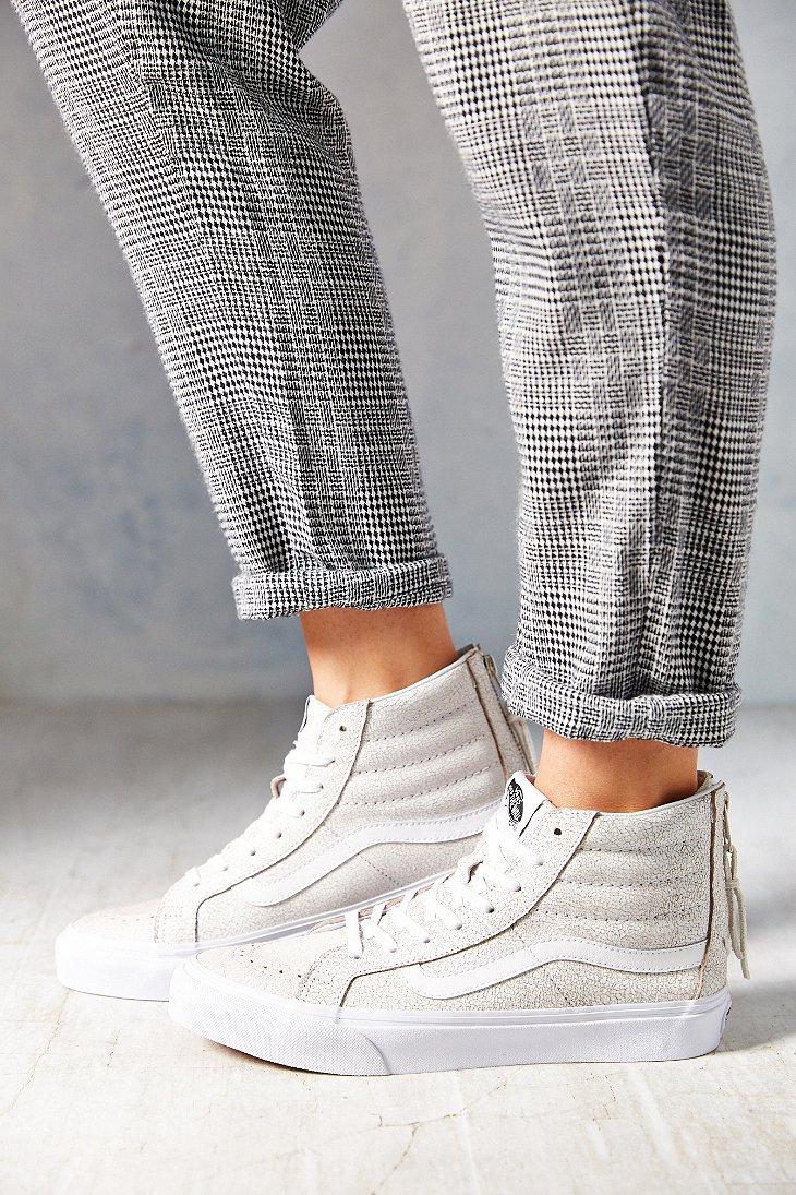 29fe971aba Vans White Sk8-Hi Crackle Suede Sneaker