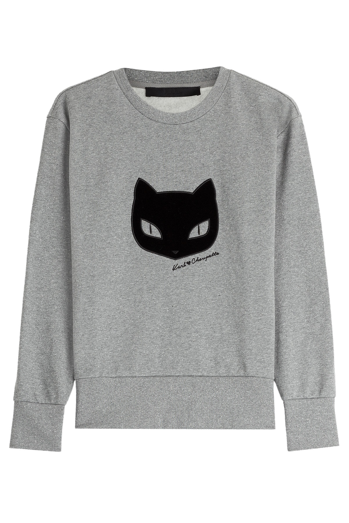 Lagerfeld Cotton Sweatshirt In With Applique Karl Gray Grey Lyst RqZ5H