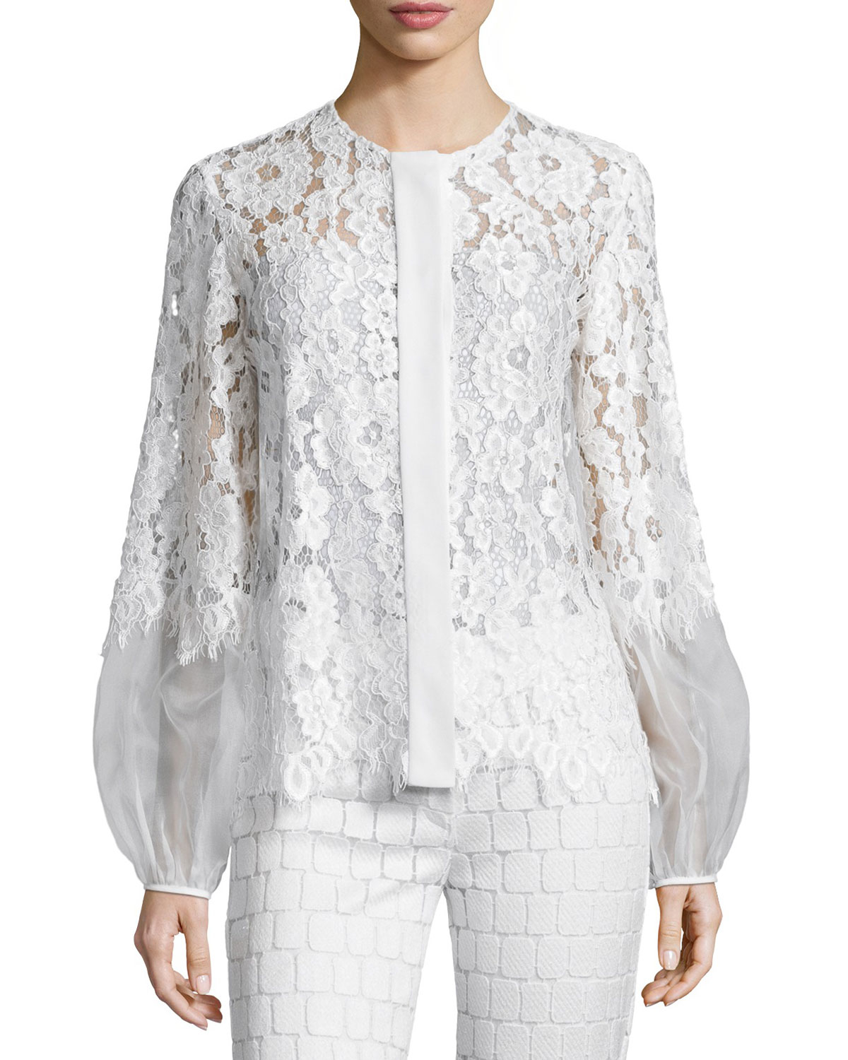 Lyst - Alexis Sue Long-sleeve Lace Blouse in White