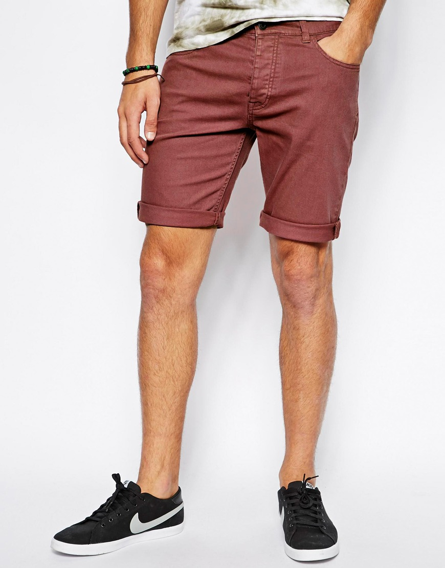 Asos Denim Shorts In Skinny Fit Mid Length in Pink for Men | Lyst