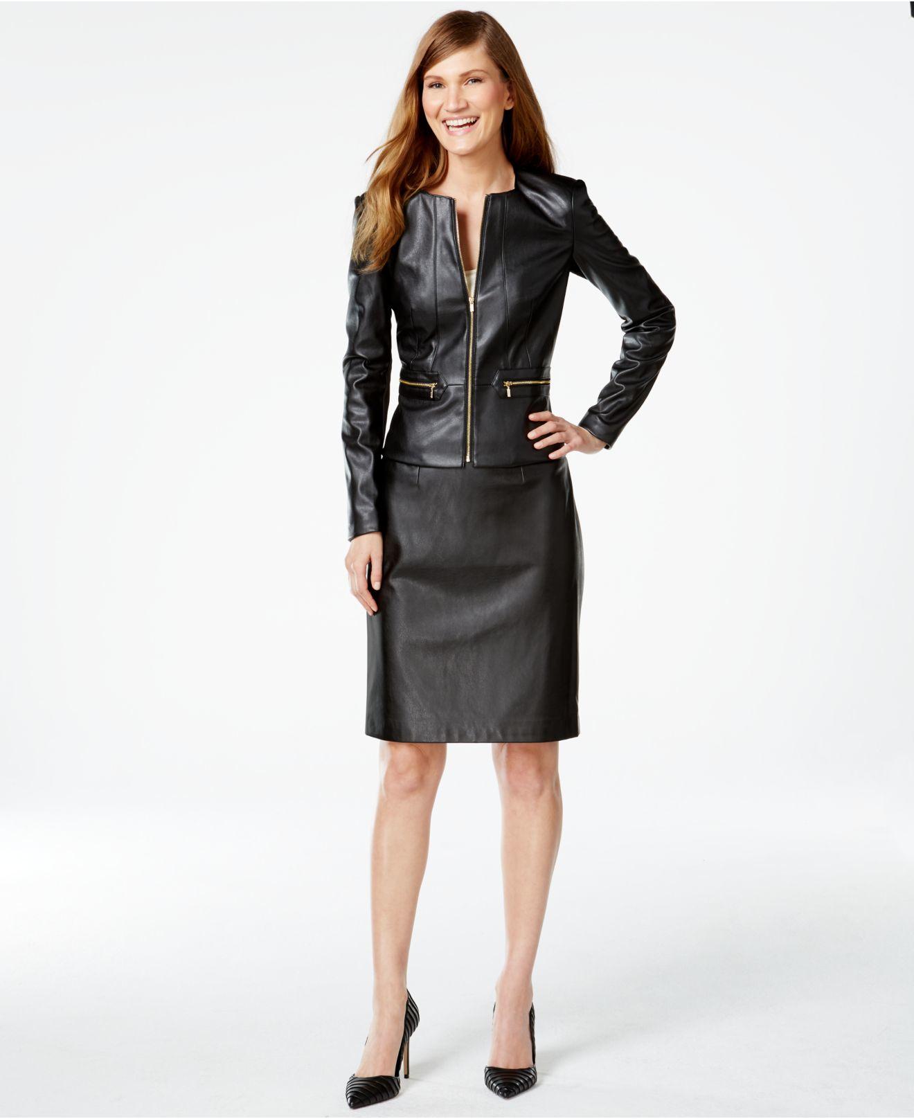 fe19cb511 Calvin Klein Black Faux-leather Zip-front Jacket