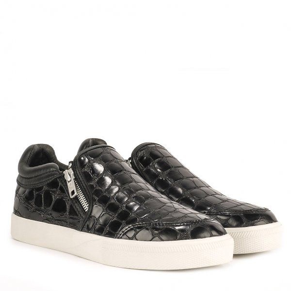 Ash Intense Croc Effect Leather Trainers in Black