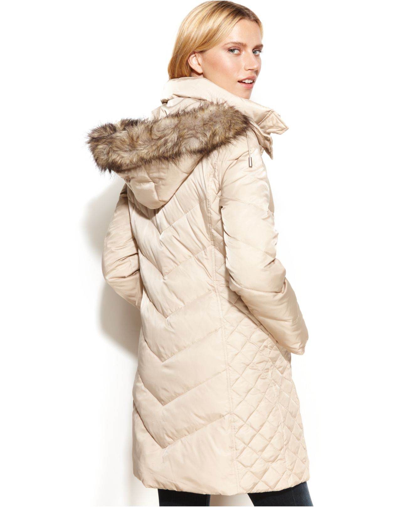Kenneth cole reaction Petite Hooded Faux-Fur-Trim Down Puffer Coat ... : kenneth cole chevron quilted coat - Adamdwight.com