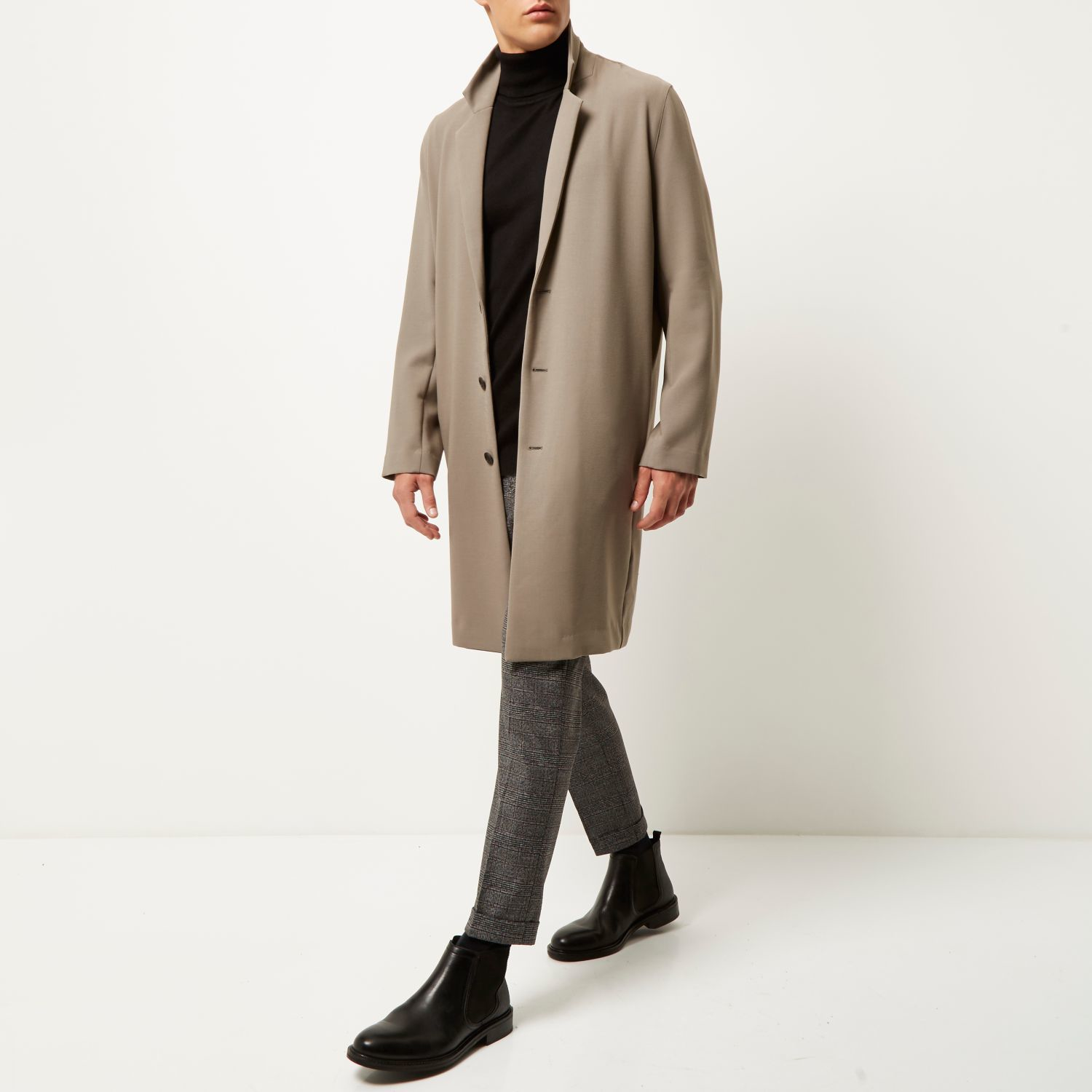 River Island Cotton Taupe Grey Longline Duster Jacket in Brown for Men