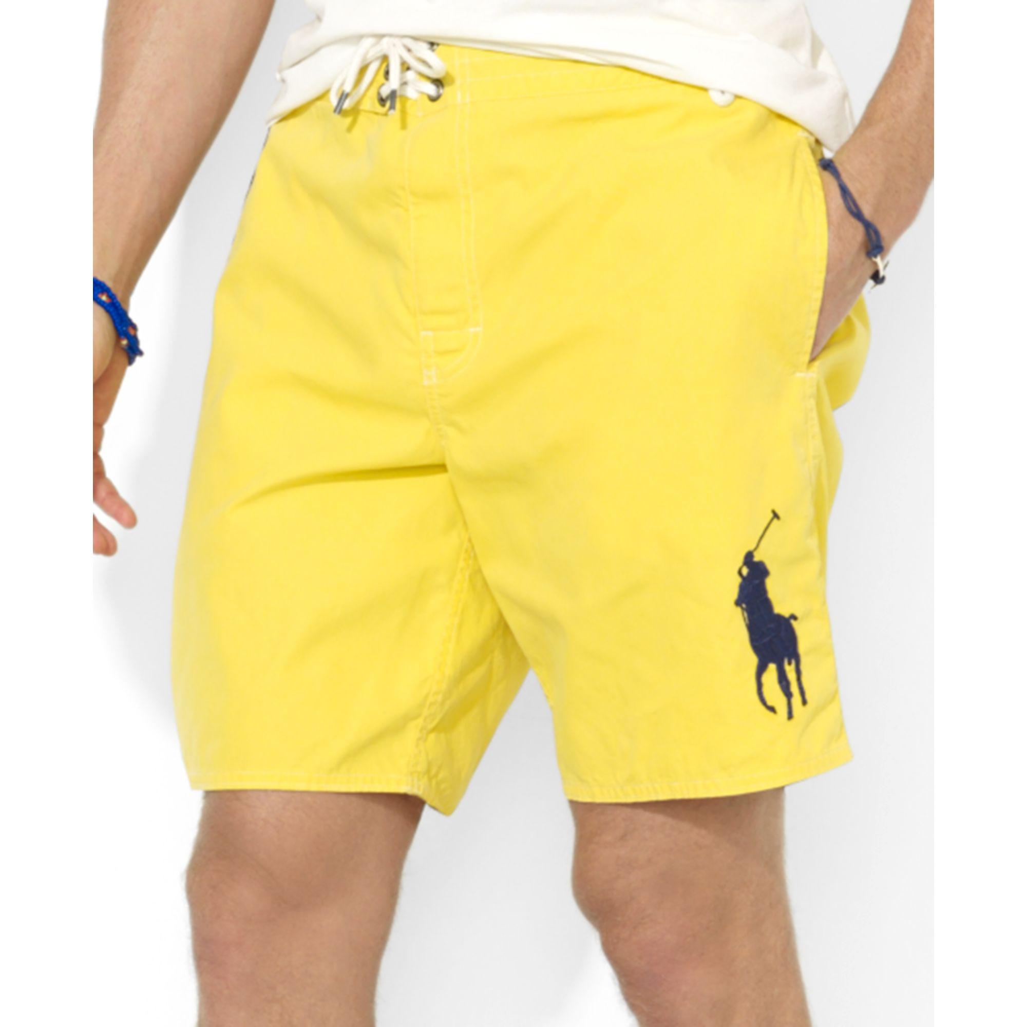 bd31de67f7f ... sale lyst ralph lauren polo sanibel big pony swim trunks in yellow for  men 31b55 85090