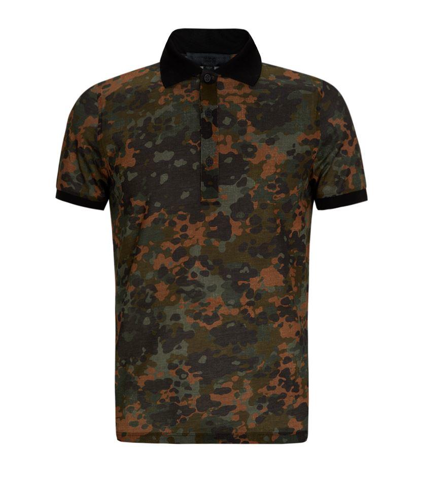 Burberry prorsum camo print polo shirt in brown for men lyst for Camo polo shirts for men