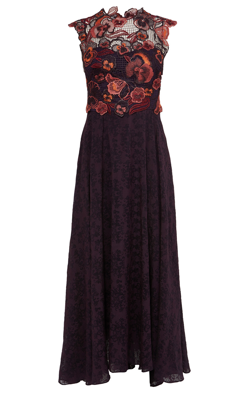 Karen Millen Embroidered Floral Maxi Dress In Purple Lyst