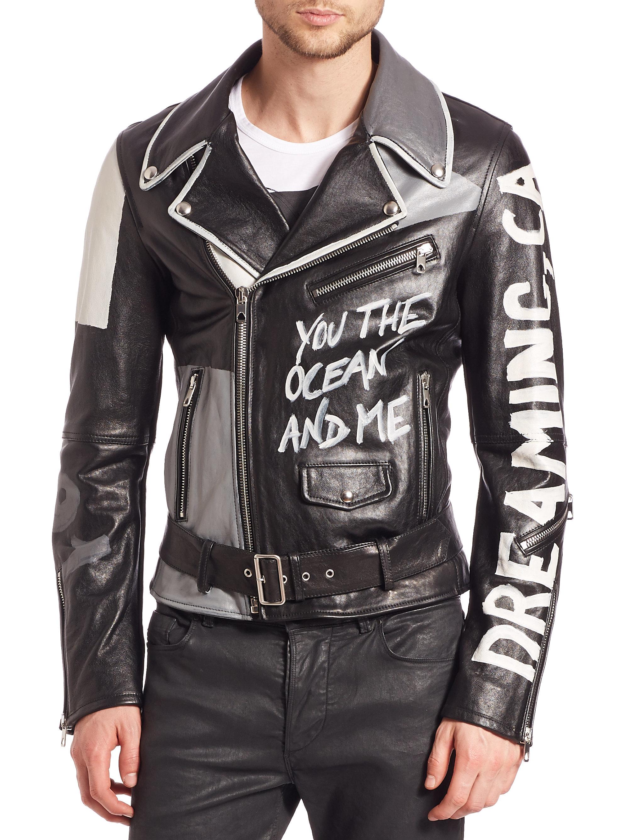 kup sprzedaż sprawdzić złapać Graffiti-print Leather Jacket