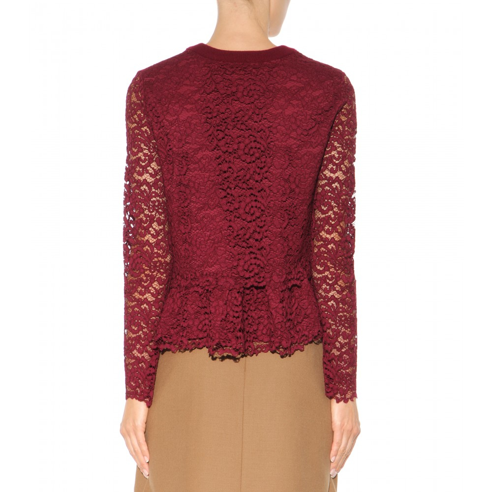 Tory burch Wool And Lace Sweater in Red | Lyst