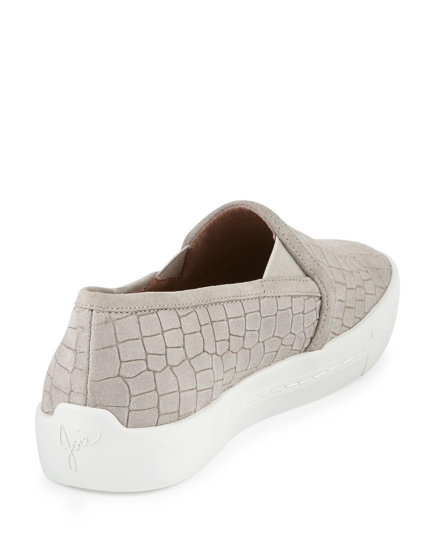 Joie Huxley Croc-Embossed Suede Skate Sneakers cvu74v