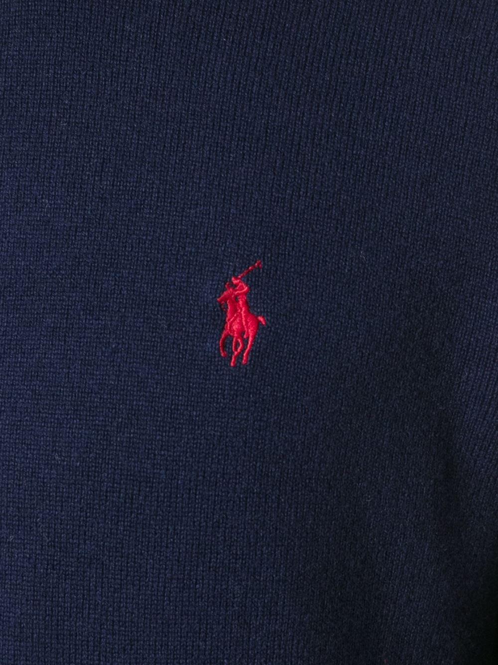 lyst polo ralph lauren logo sweater in blue for men