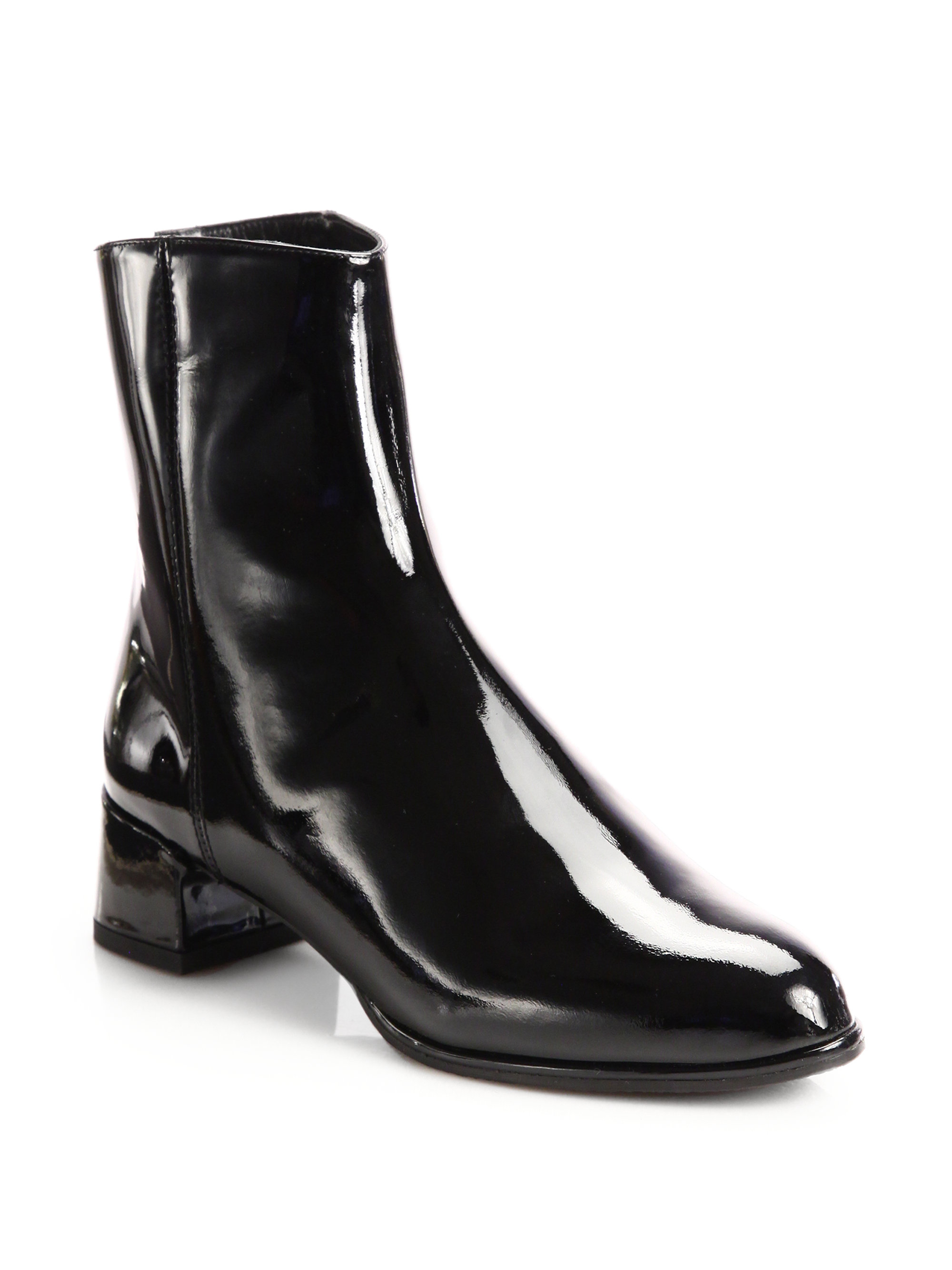 Stuart weitzman Patent Leather Ankle Boots in Black | Lyst
