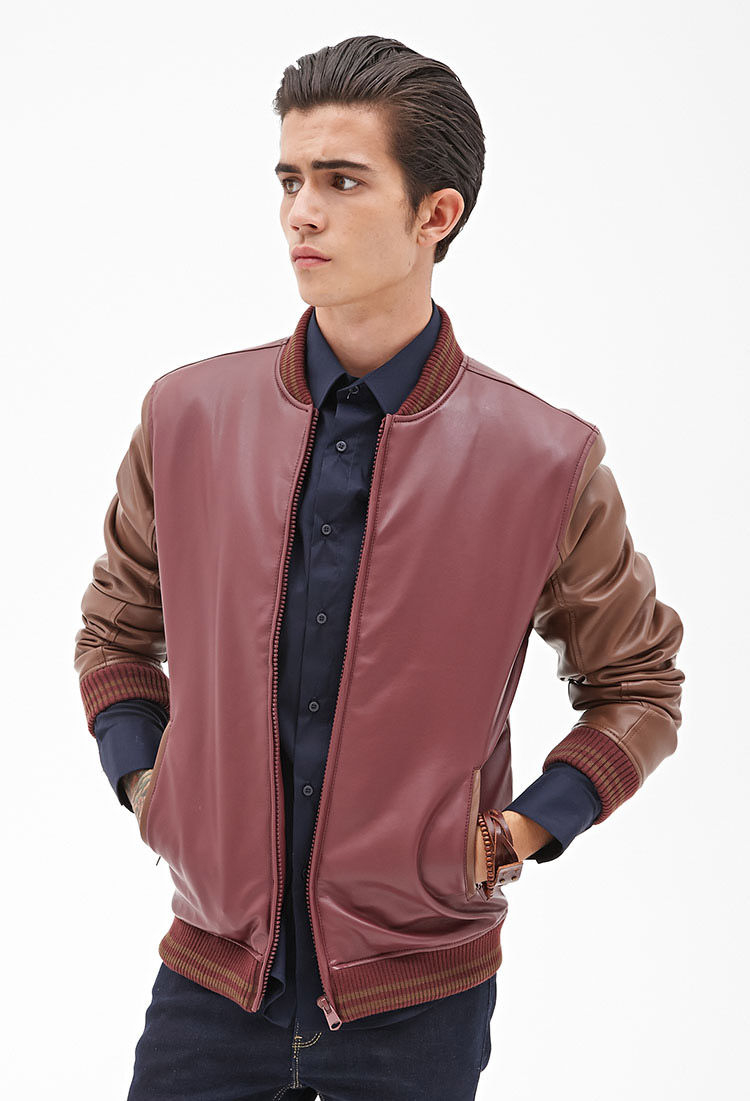 Faux Leather Bomber Jacket Photo Album - Reikian