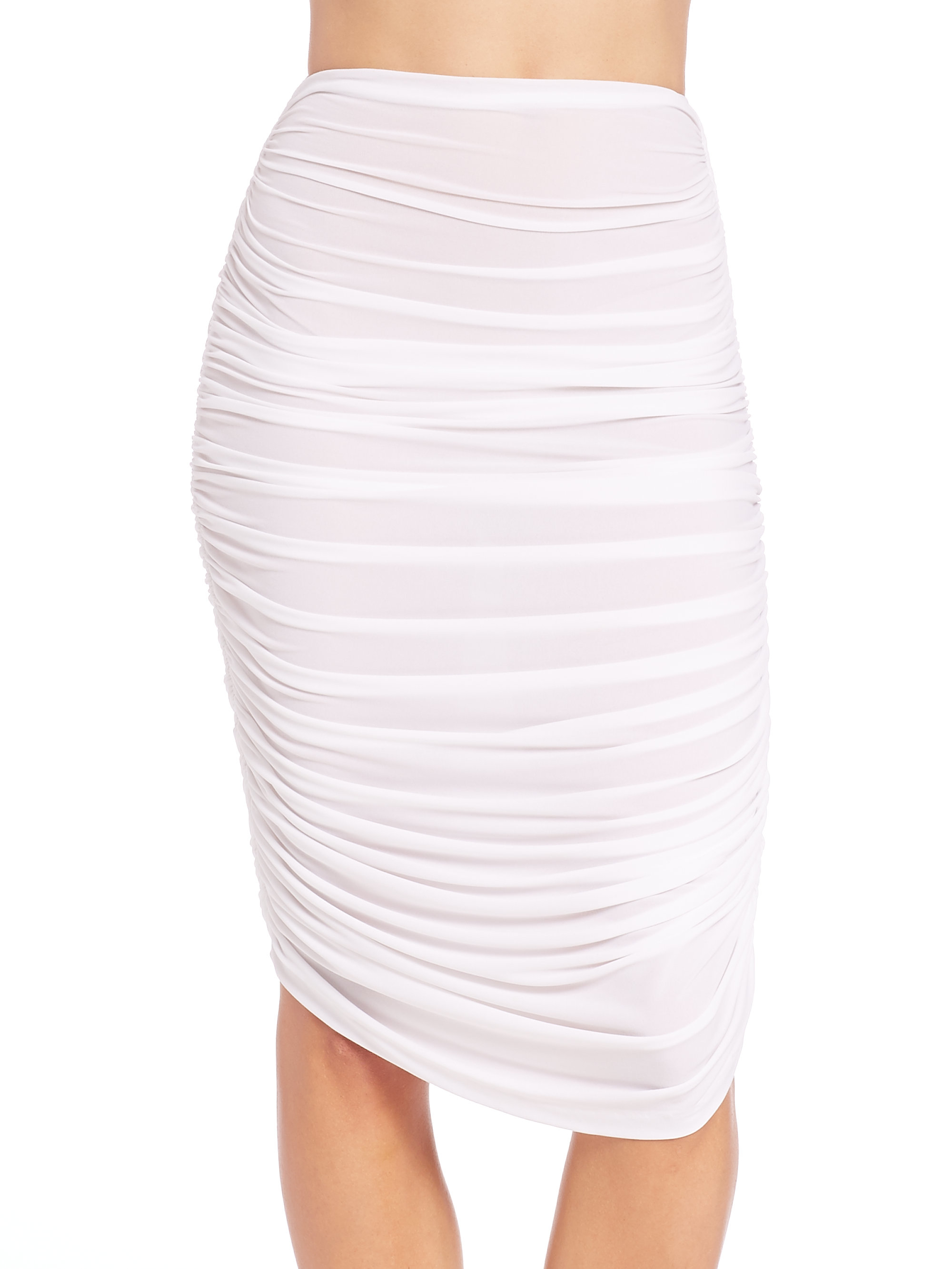 norma kamali ruched swim skirt in white lyst