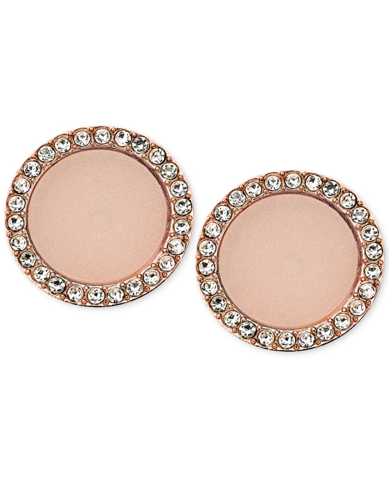 lyst michael kors rose gold tone disc stud earrings in pink. Black Bedroom Furniture Sets. Home Design Ideas