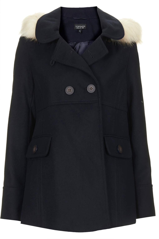 Topshop Fur Hooded Swing Coat In Navy Blue Blue Lyst