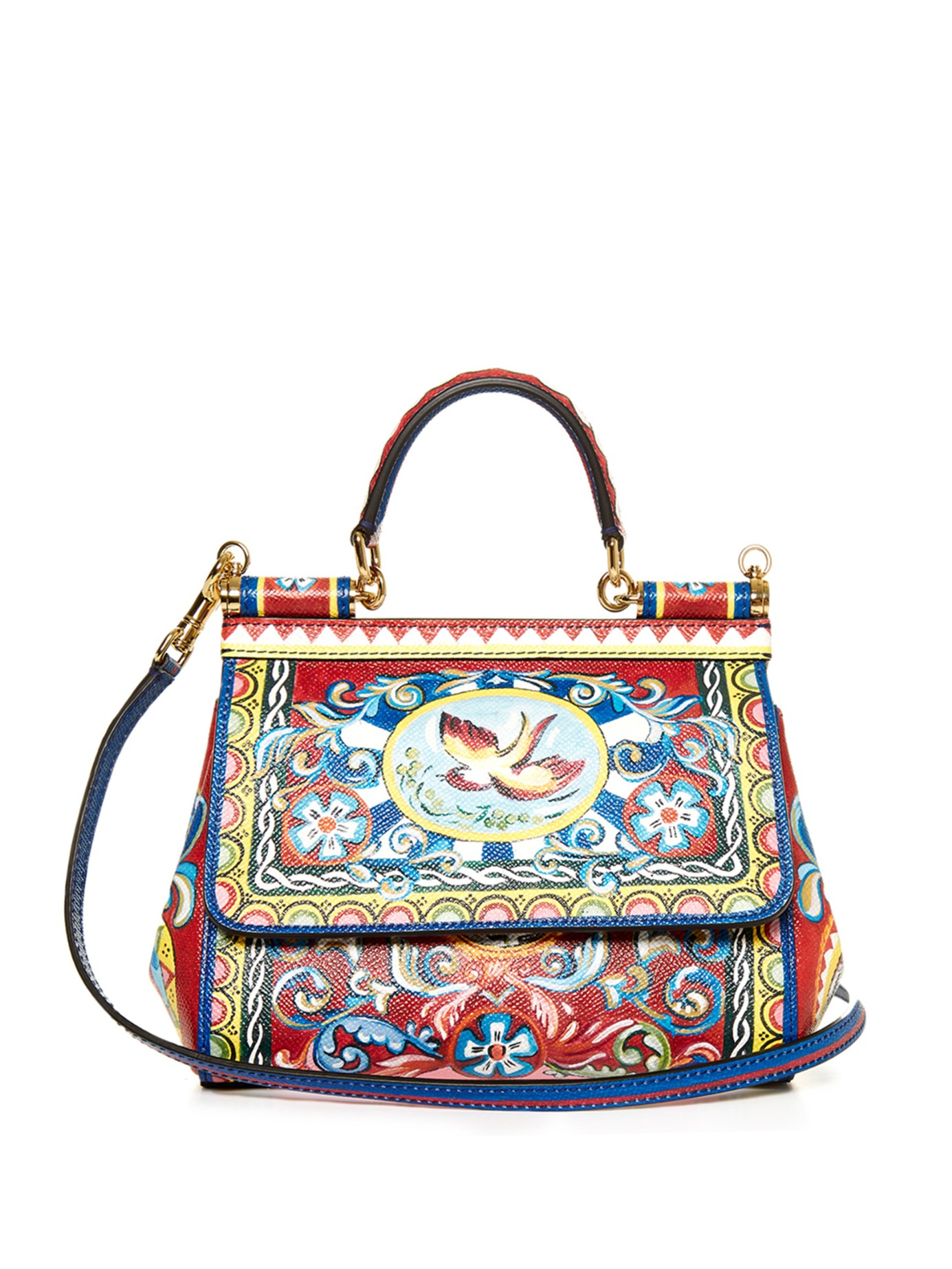 Lyst - Dolce   Gabbana Sicily Small Carretto-Print Shoulder Bag in Red 728179f5d38e6