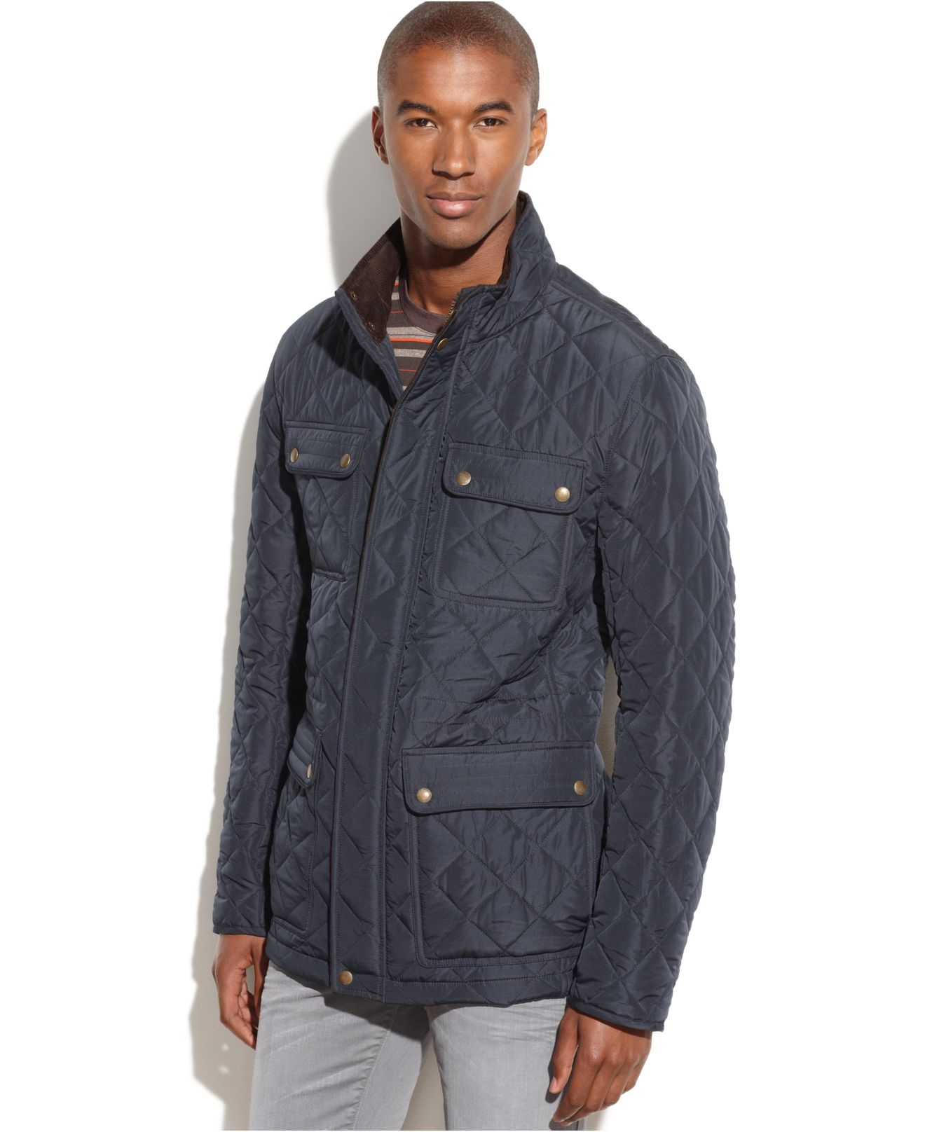 Lyst Vince Camuto Quilted Four Pocket Field Coat In Blue