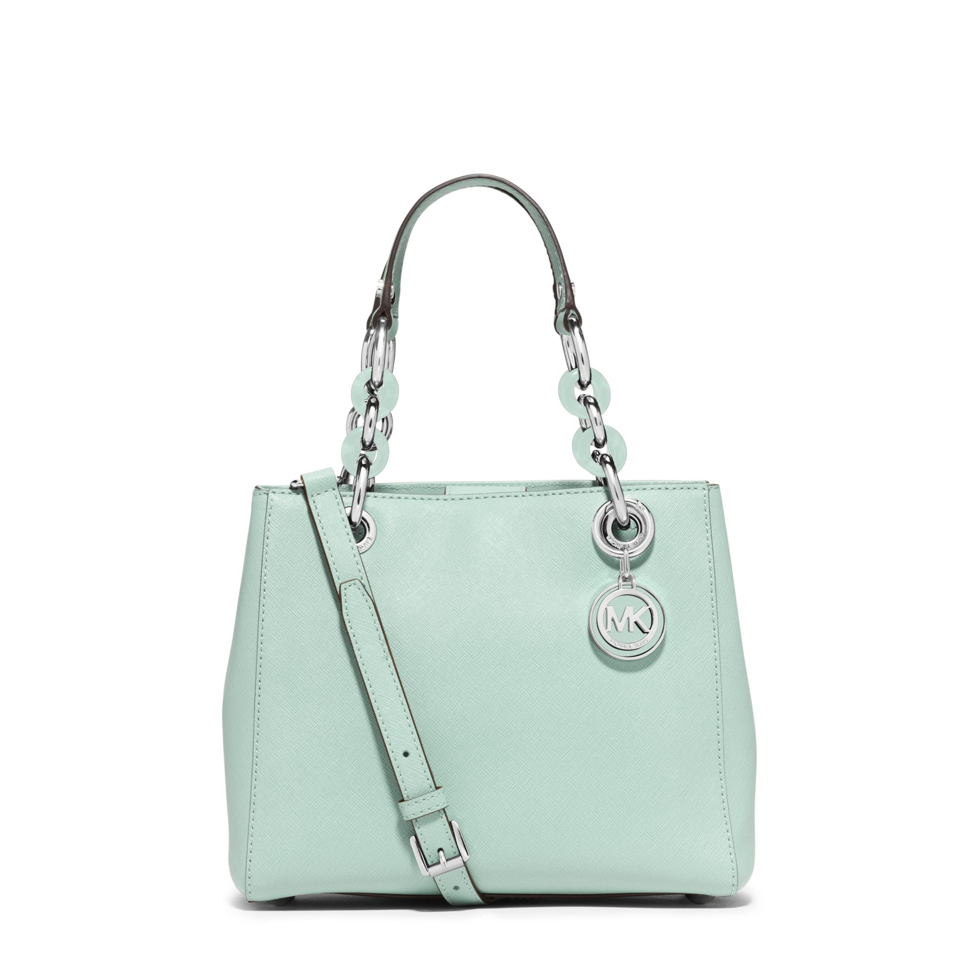 1c97156e10db Michael Kors Cynthia Small Saffiano Leather Satchel in Green - Lyst