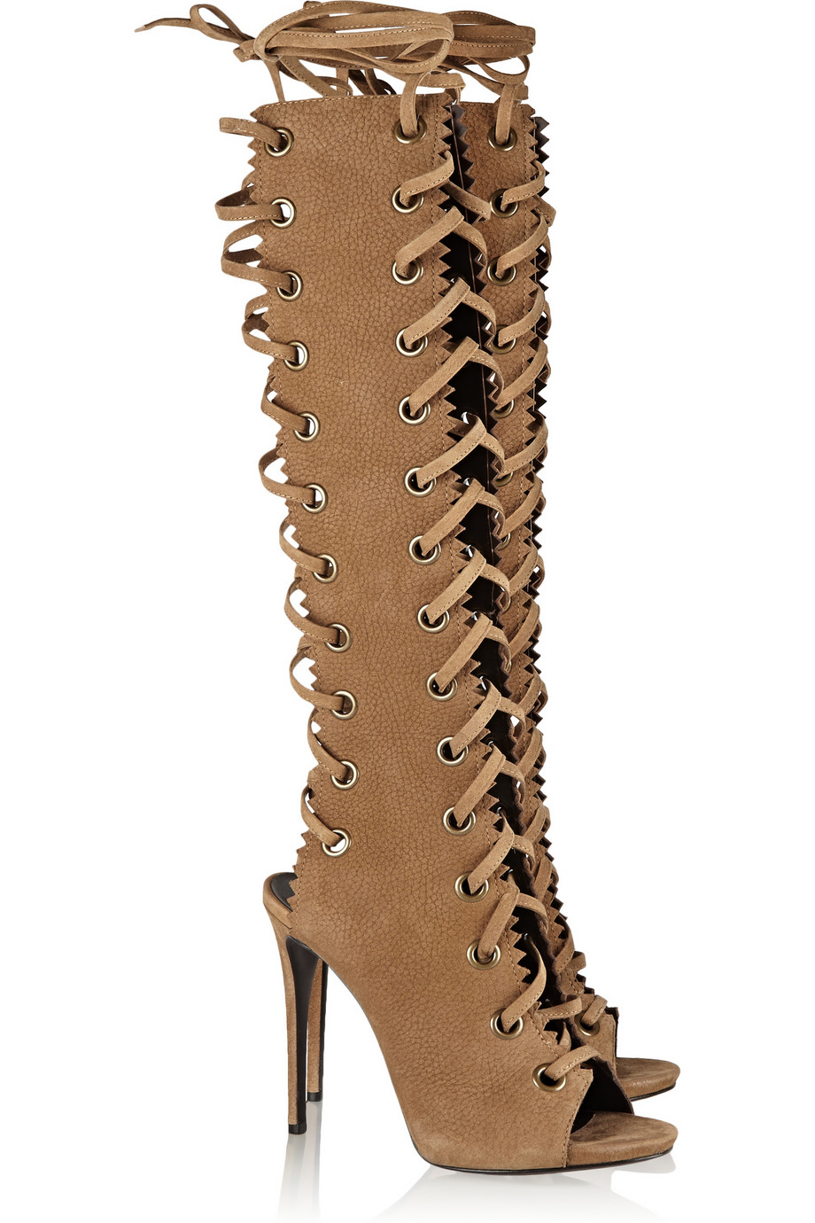 Lyst - Giuseppe Zanotti Textured-Suede Knee Boots in Brown 0851b152e9