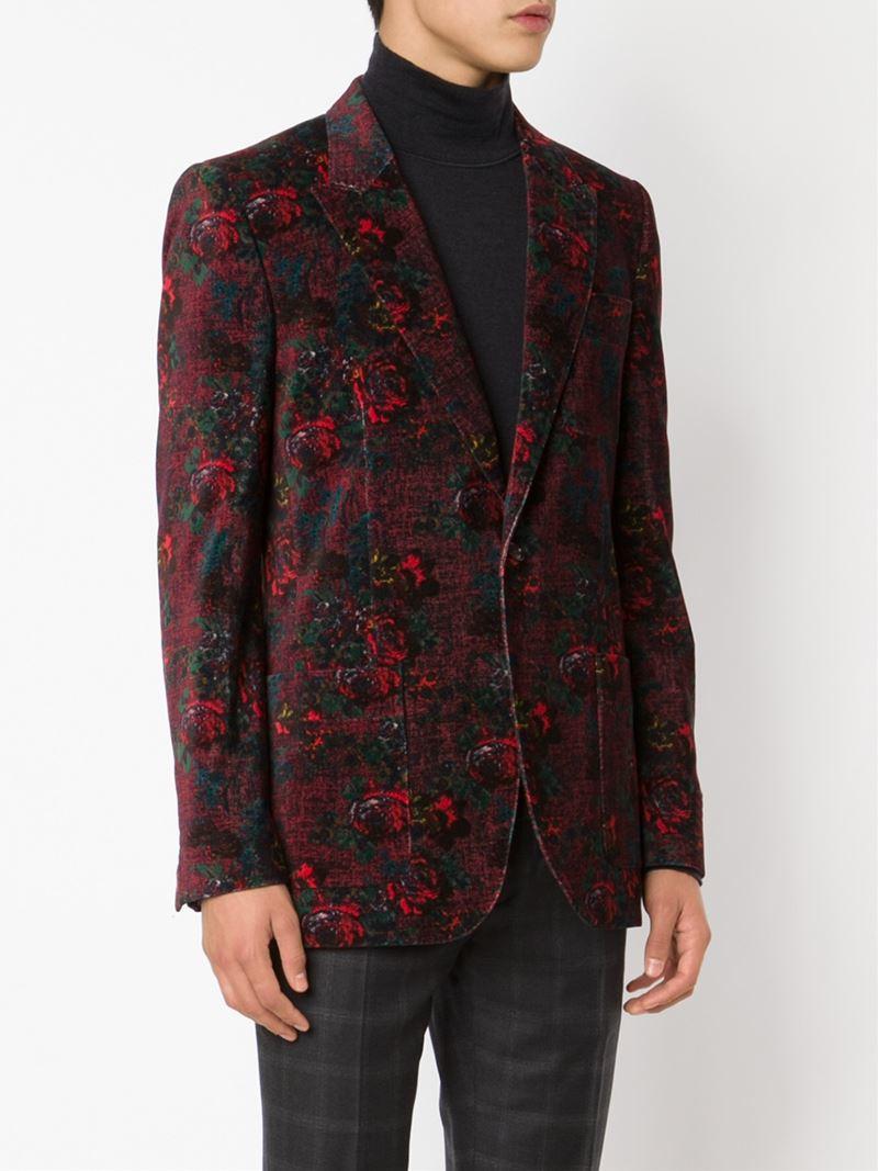 lyst marc jacobs rose print blazer in red for men. Black Bedroom Furniture Sets. Home Design Ideas