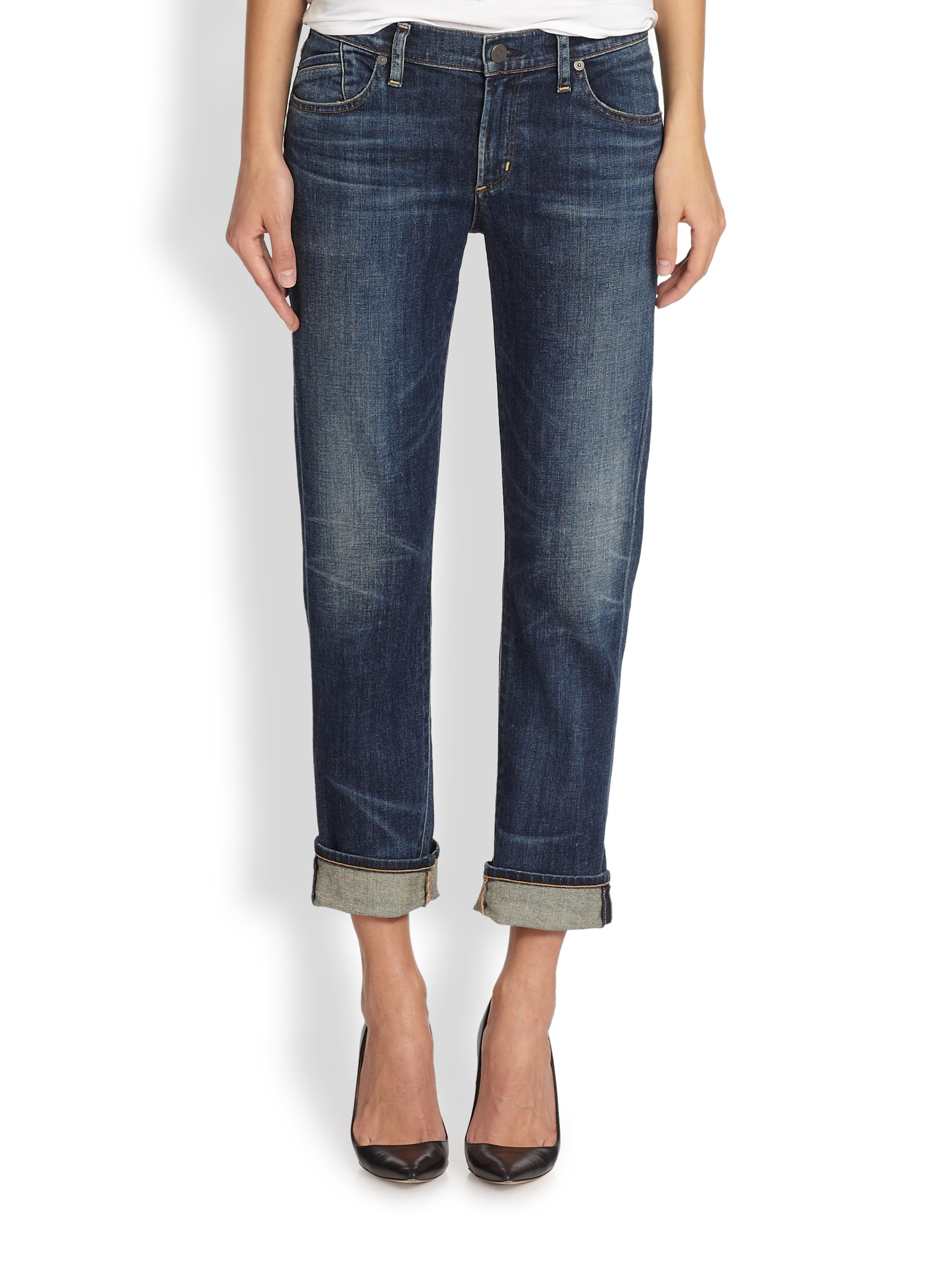 lyst citizens of humanity phoebe cropped boyfriend jeans in blue. Black Bedroom Furniture Sets. Home Design Ideas