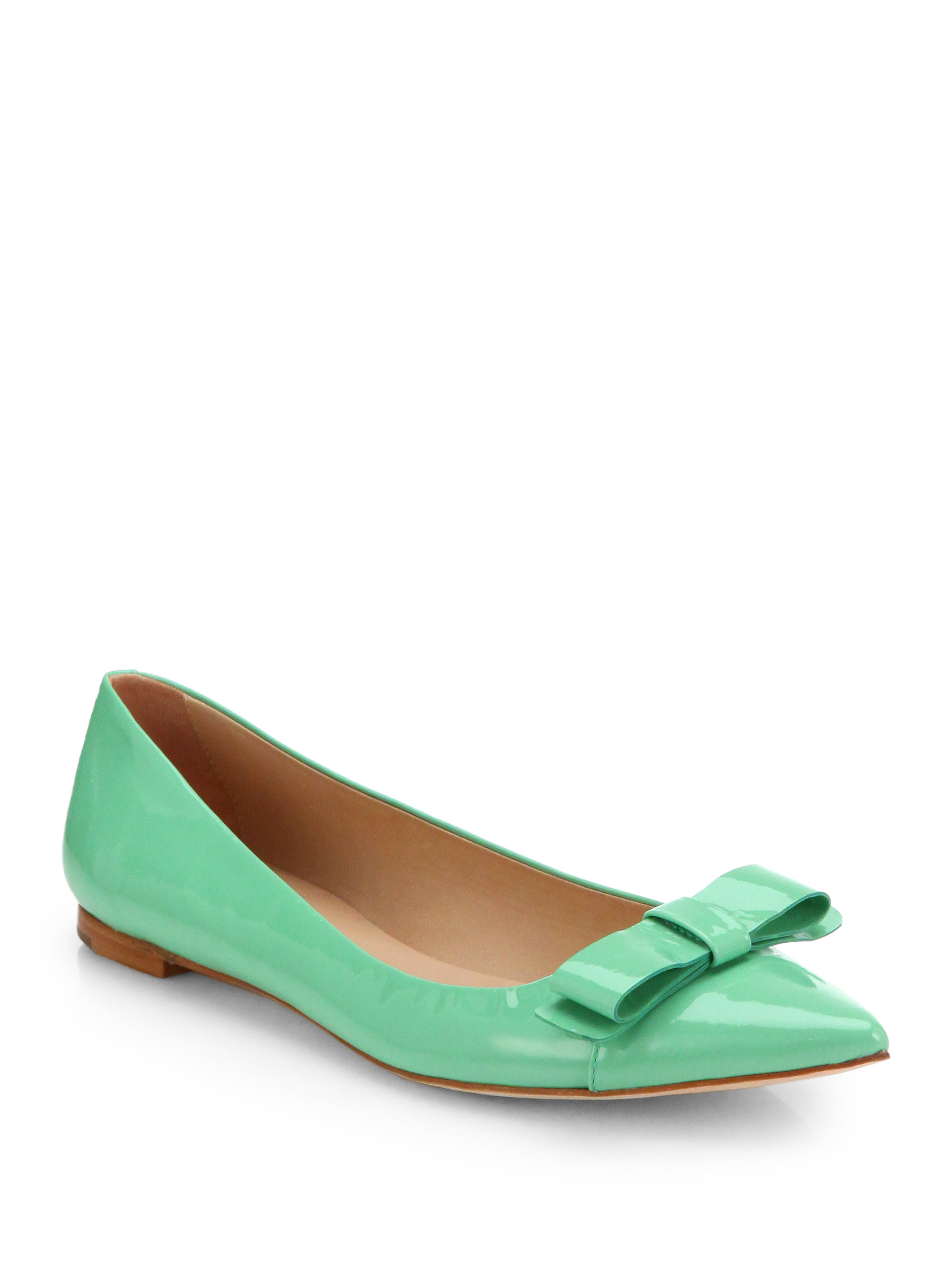 Lyst kate spade new york gabe pointed bow flats in green for Kate spade new york flats