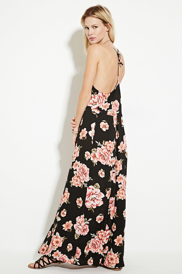 forever 21 floral print maxi dress in black lyst