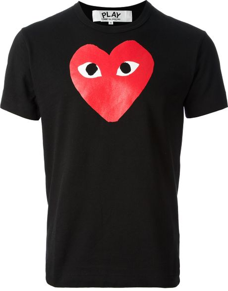 Play Comme Des Gar Ons Printed Heart T Shirt In Black For